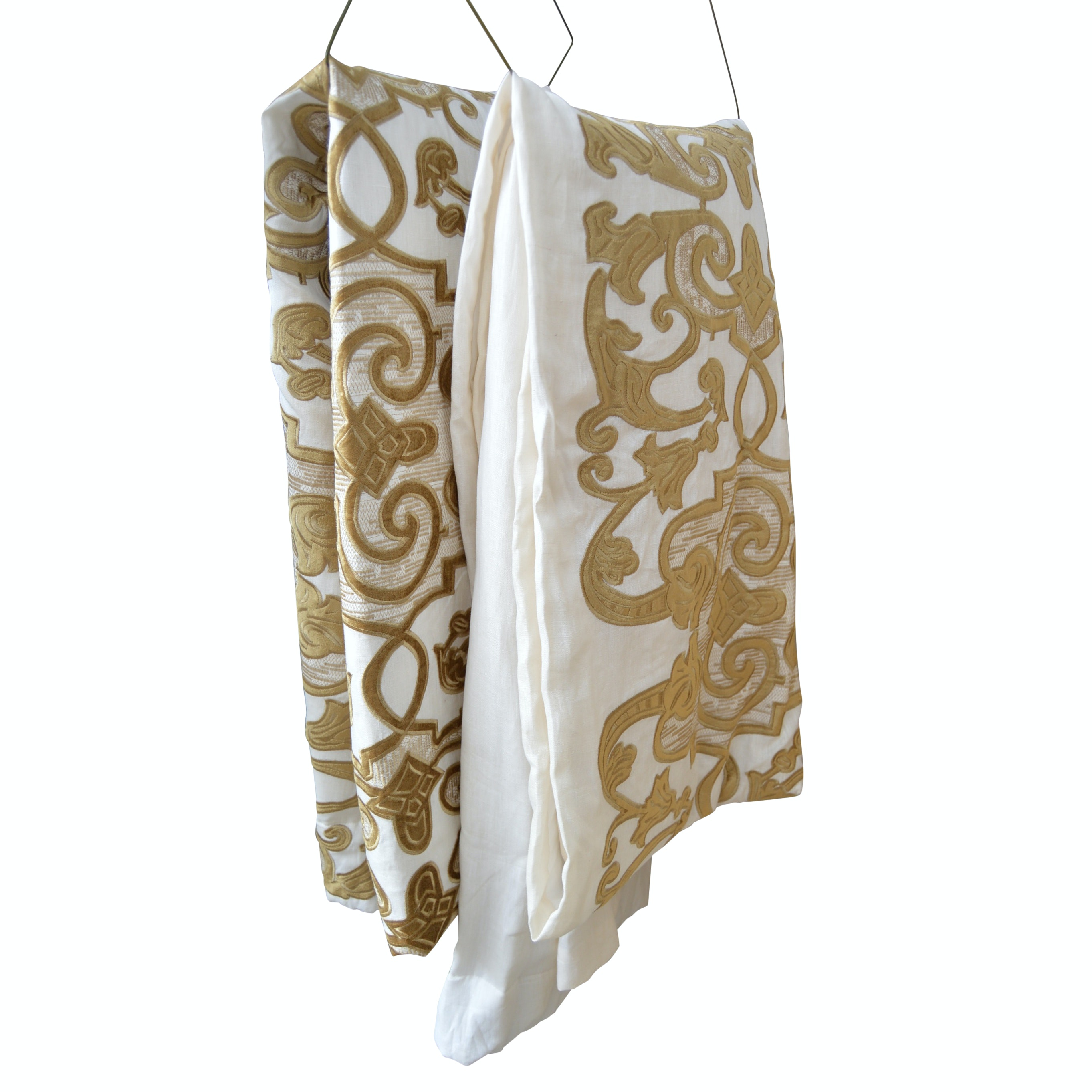 Custom Lined and Insulated Lili Alessandra Draperies in Embroidered Linen