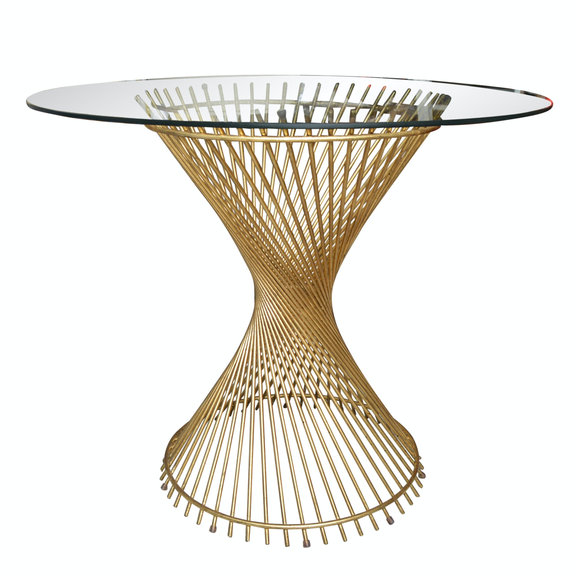 Contemporary Gilded Metal Pedestal Table with Glass Top