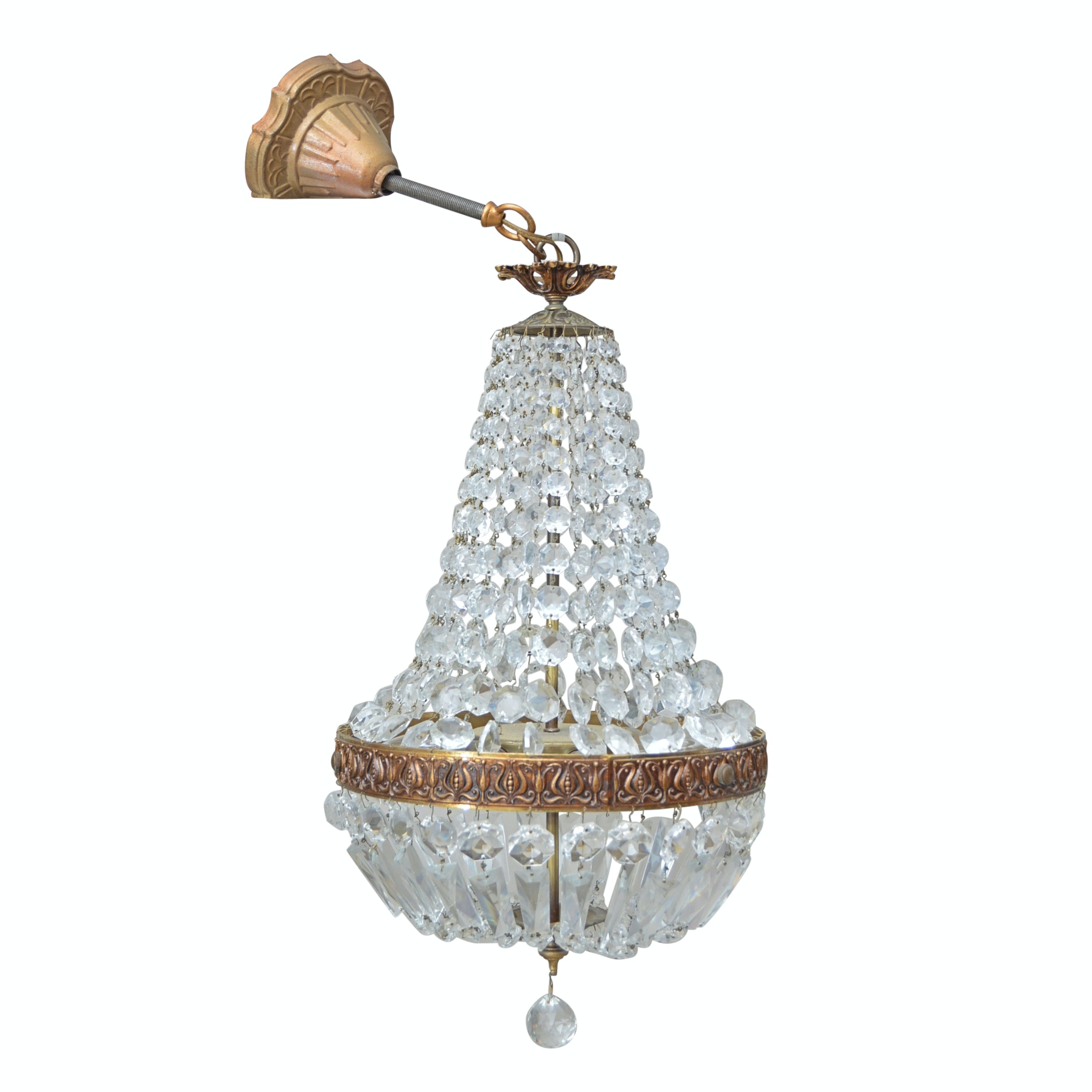 Neoclassic Style Crystal Basket Chandelier