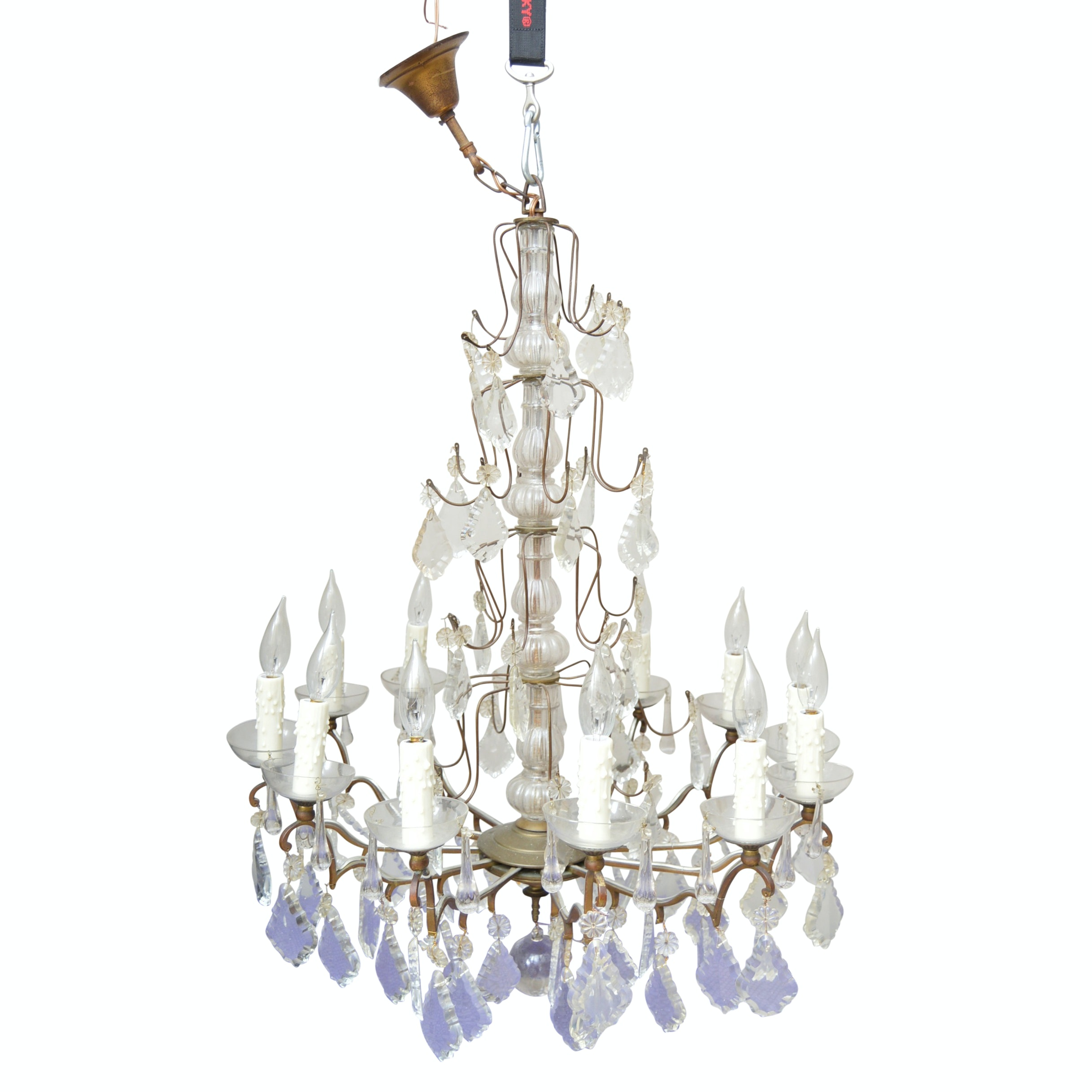 Vintage French Twelve-Arm Pendeloque Crystal Chandelier