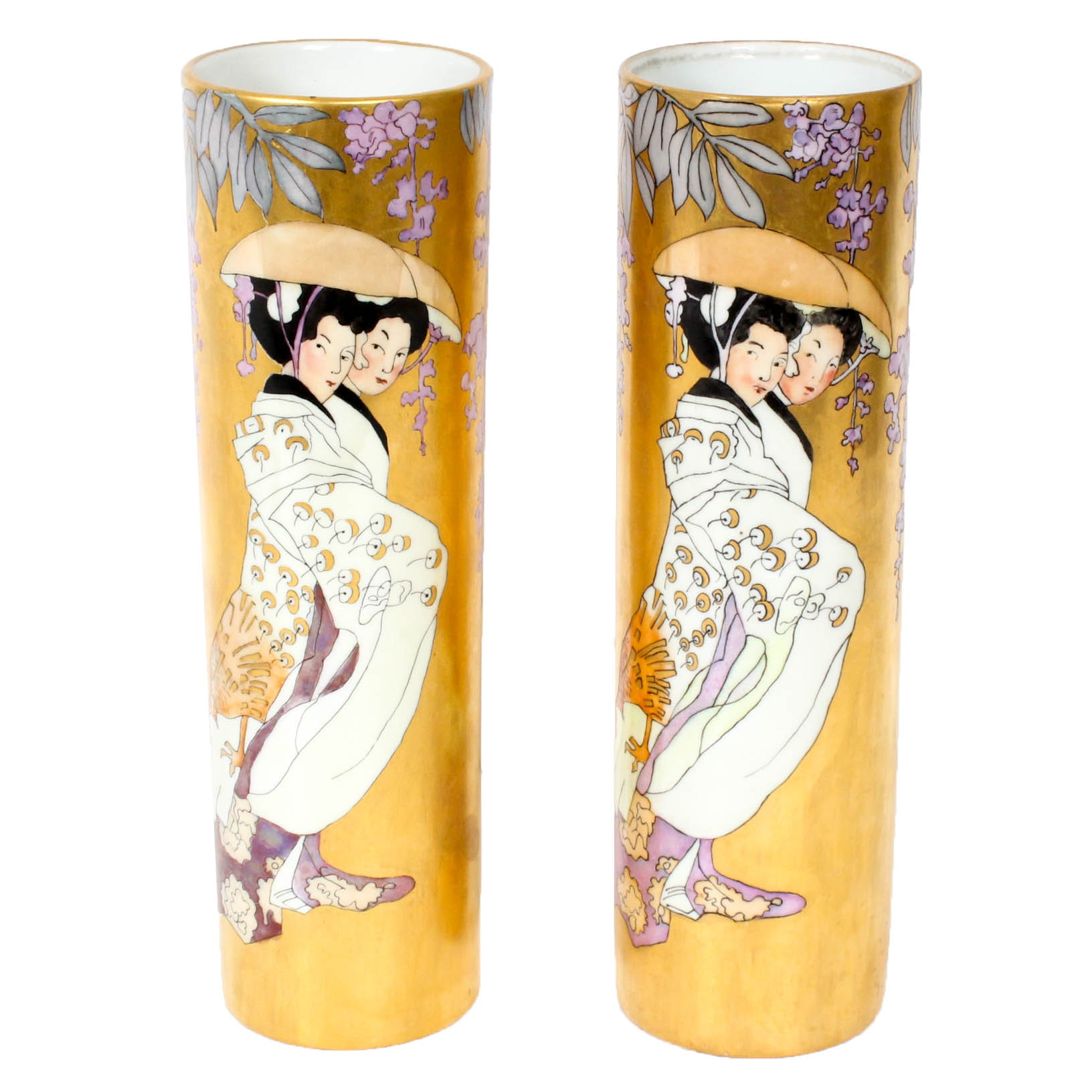 1921 MZ Austria Hand Painted Vases Signed by Edith Macbride