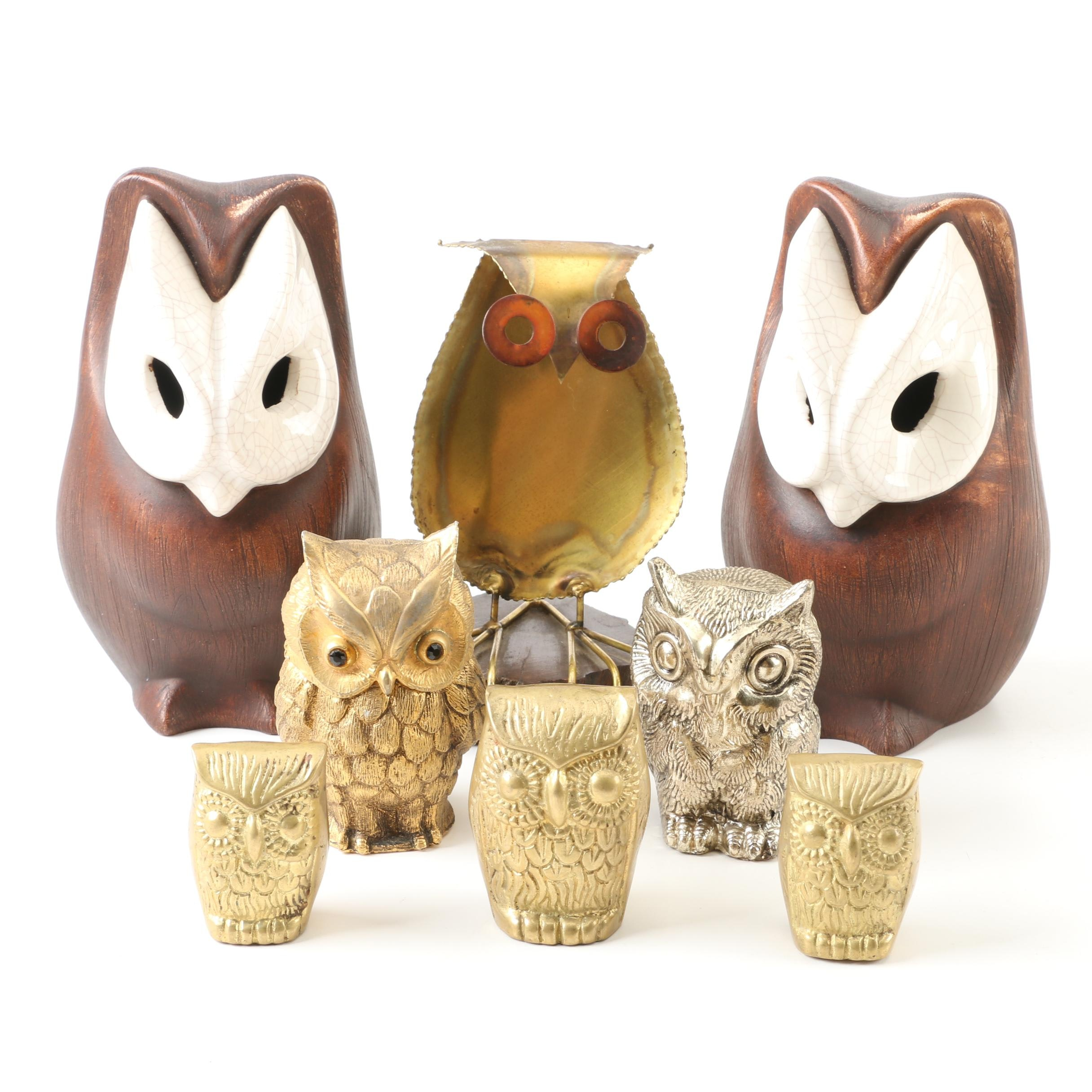 Vintage Engraved Metal Owl Figurines and Table Lighter