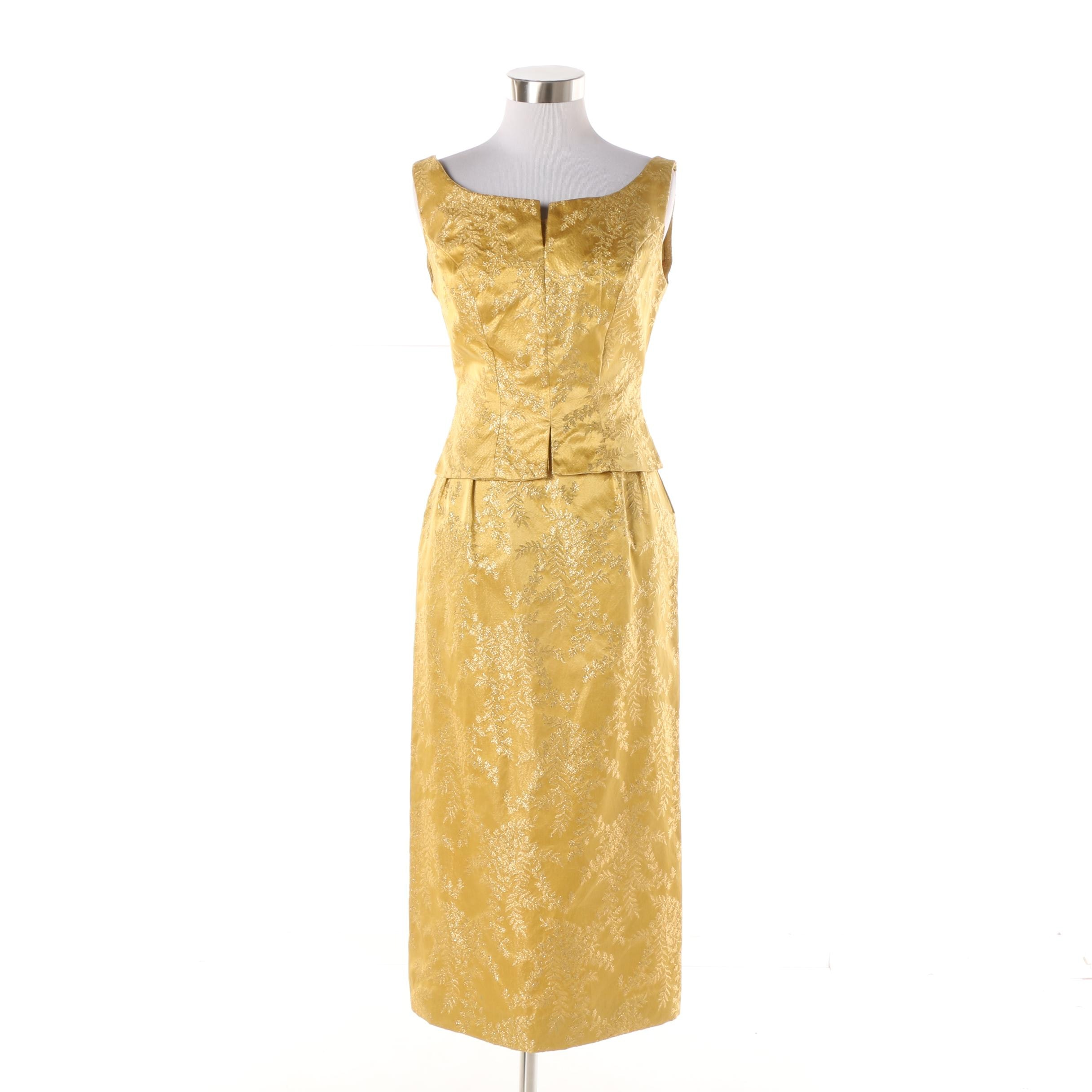 Women S 1960s Vintage Golden Brocade Sleeveless Cocktail Dress Ebth