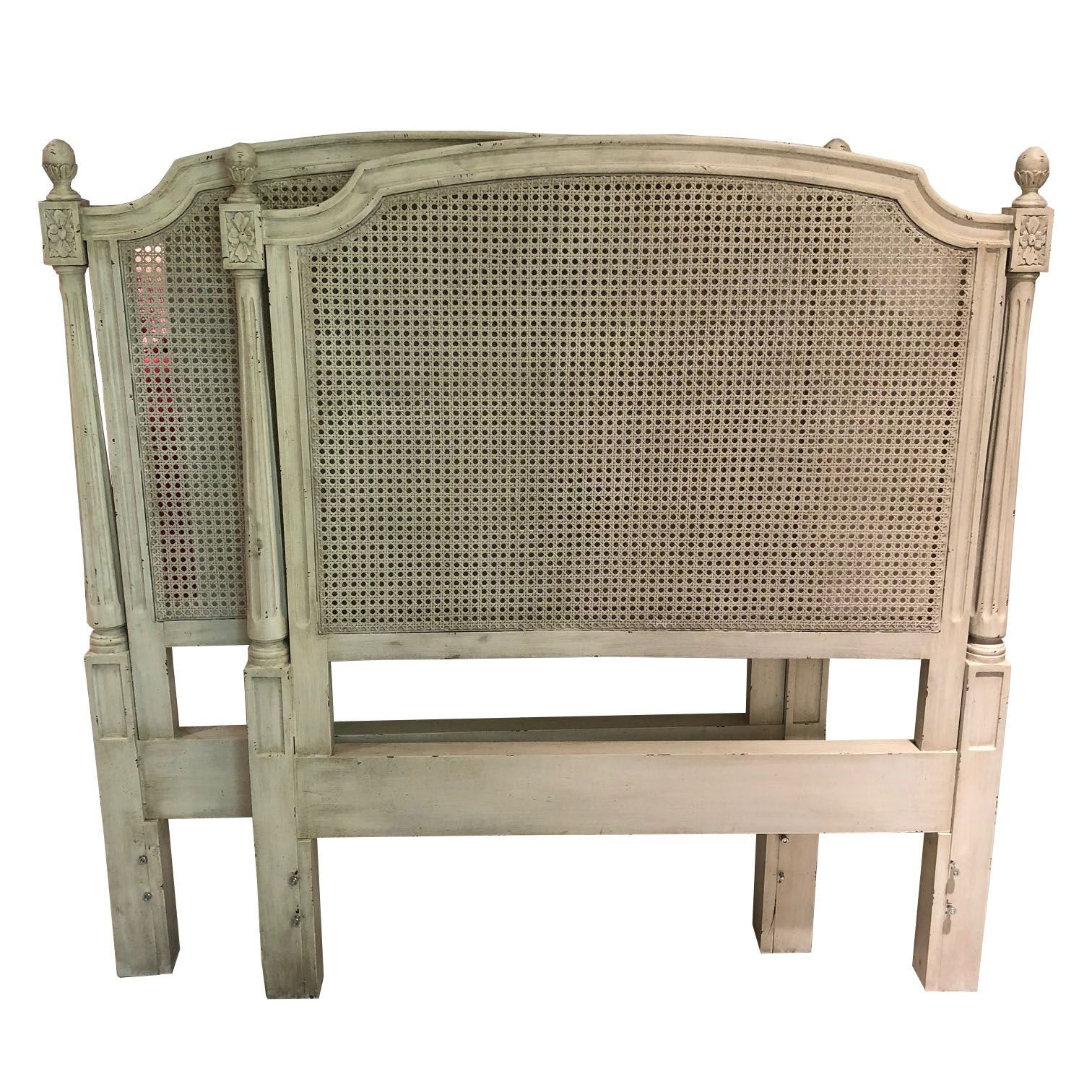 Louis XVI Style Caned Twin Sized Headboard and Footboard