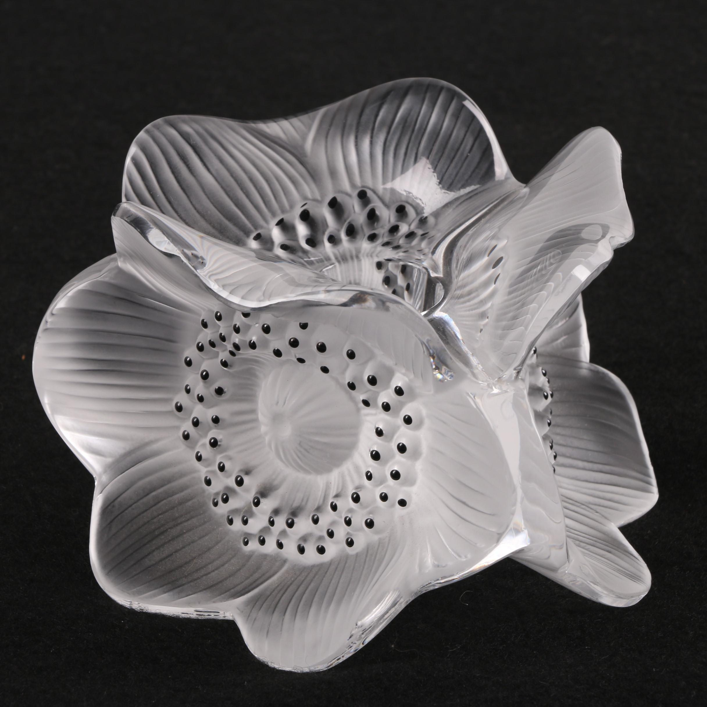 """Lalique """"Anemone"""" Crystal Candle Holder"""