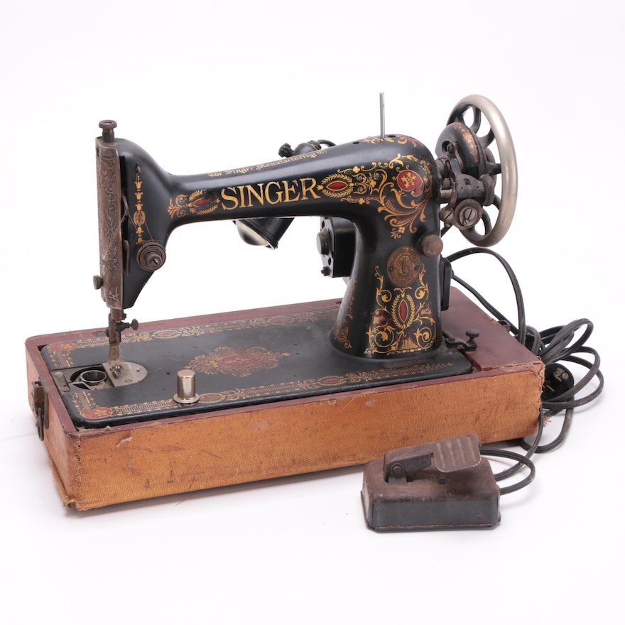 Early 40th Century Singer Manufacturing Company Sewing Machine EBTH Interesting Singer Sewing Machine Company
