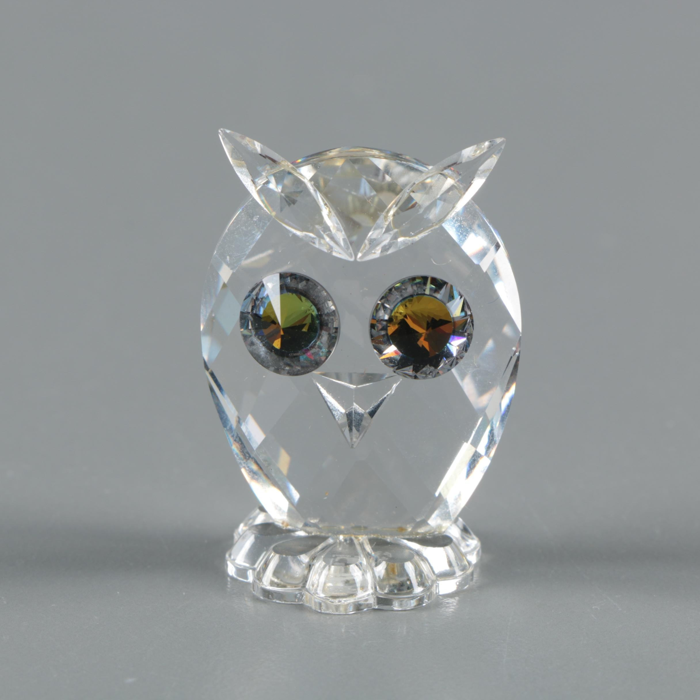 Retired Swarovski Crystal Owl Figurine Designed by Max Schreck