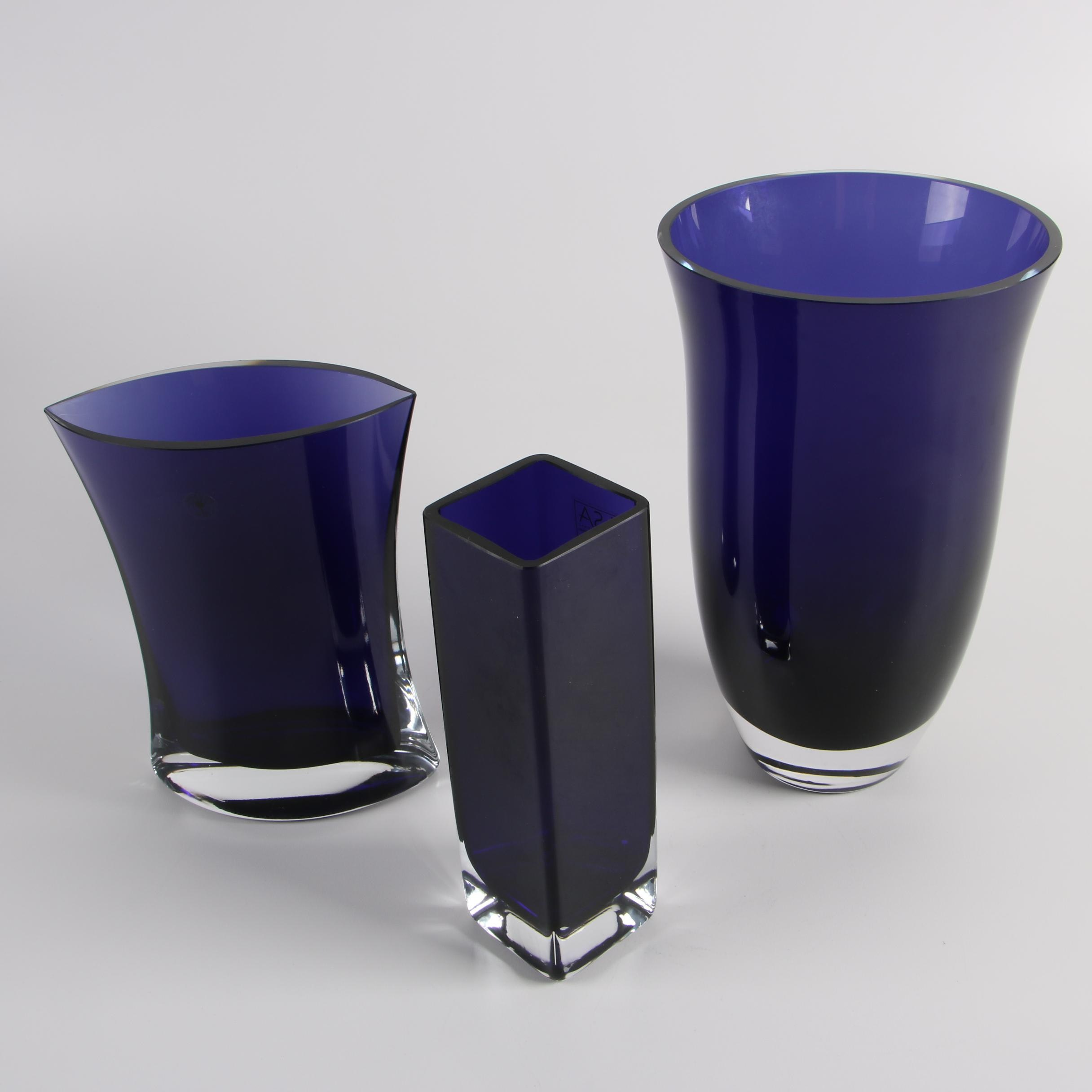 Polish LSA and Bombay Hand Blown Glass Cobalt Vases