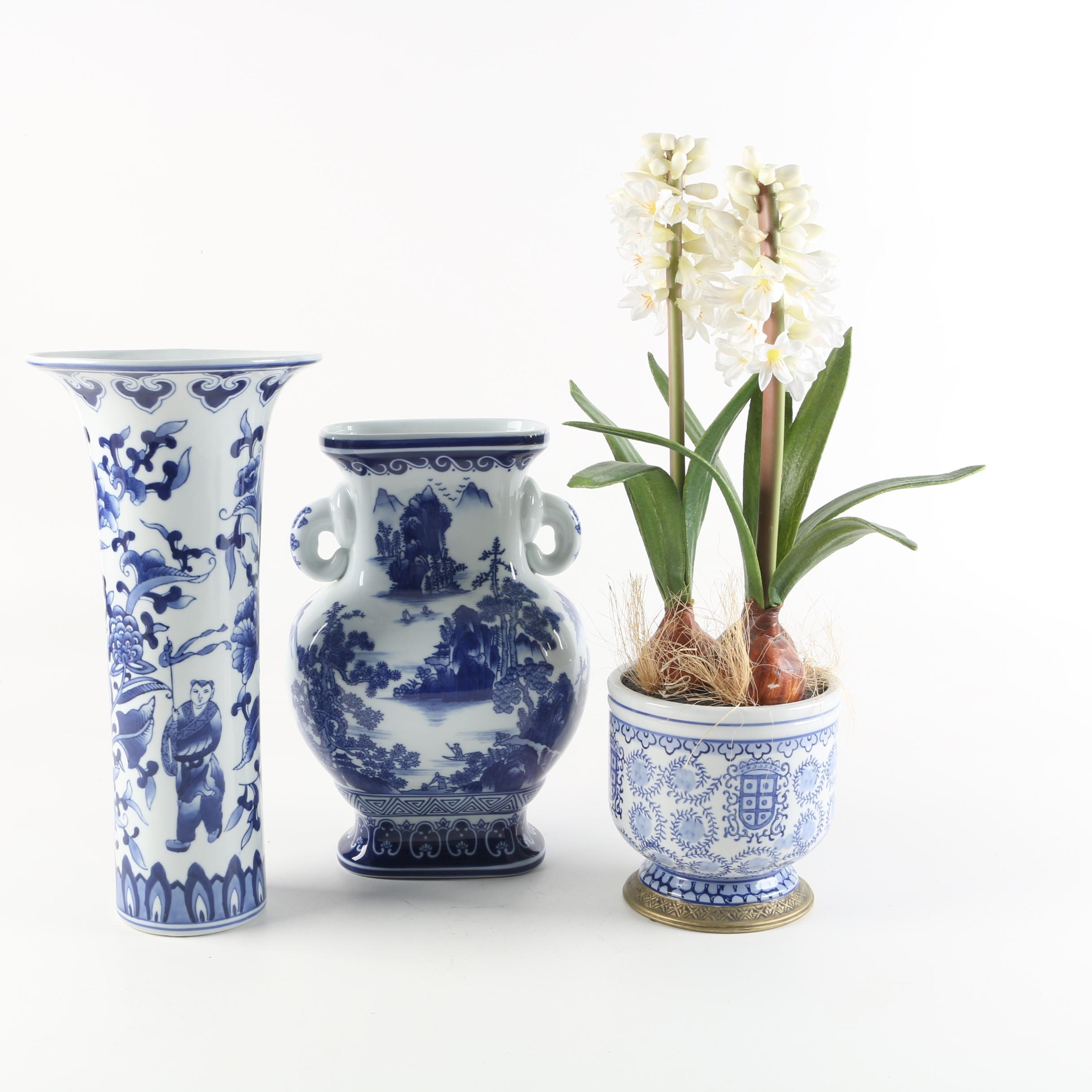 Contemporary Chinese Blue and White Porcelain Décor including Bombay Company