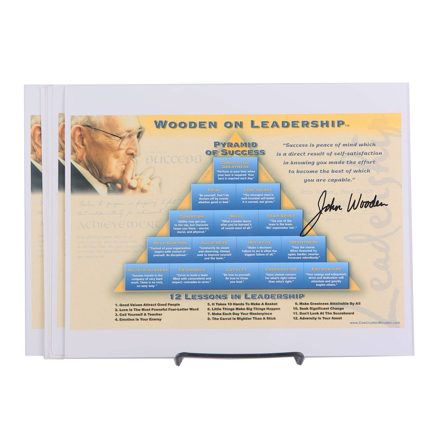 John Wooden Autographed Pyramid Of Success Sheets
