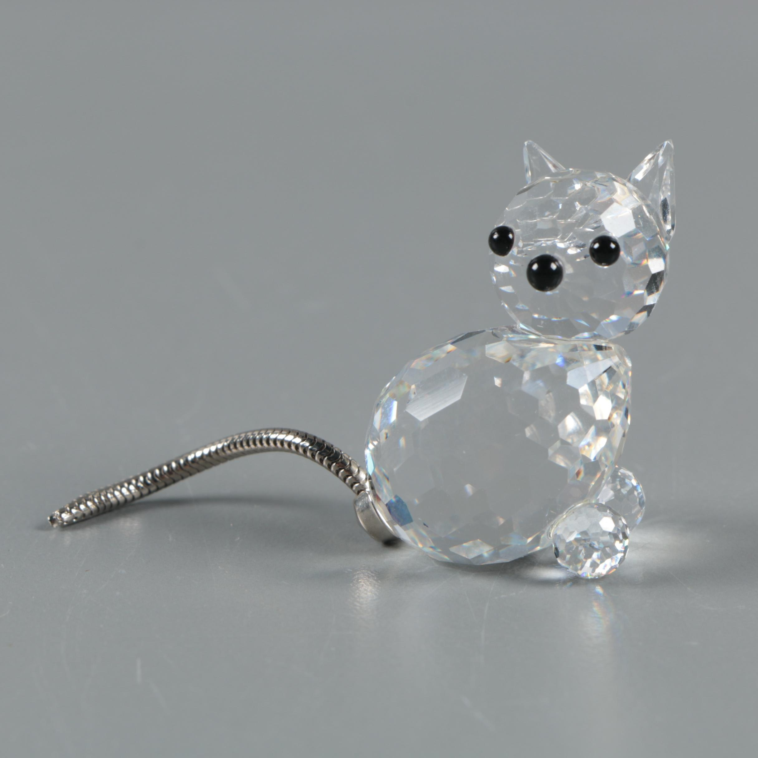 "Vintage Swarovski Crystal Miniature ""Cat"" Figurine"