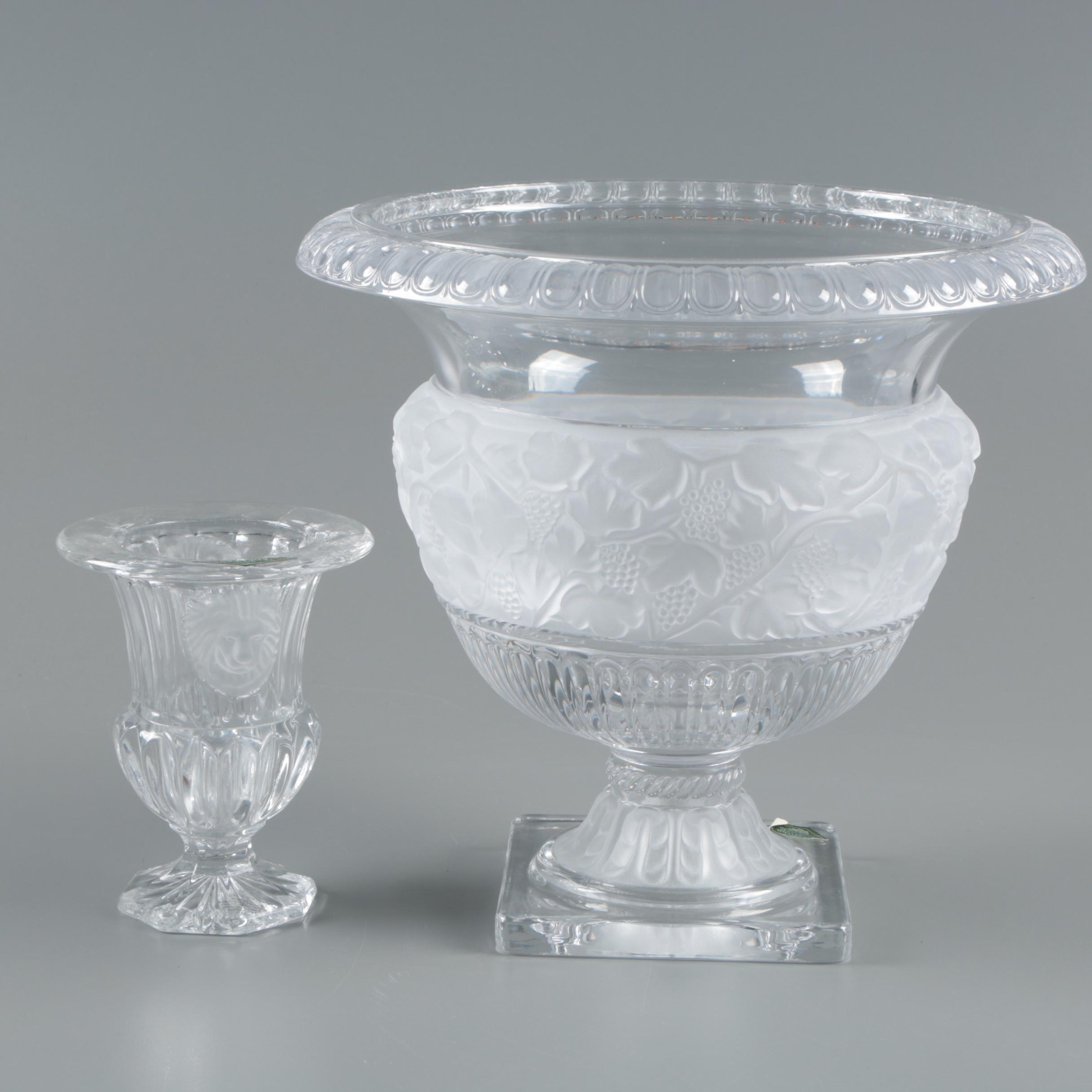 Shannon Crystal Bowl and Candle Holder with Frosted Glass Grape and Lion Motif