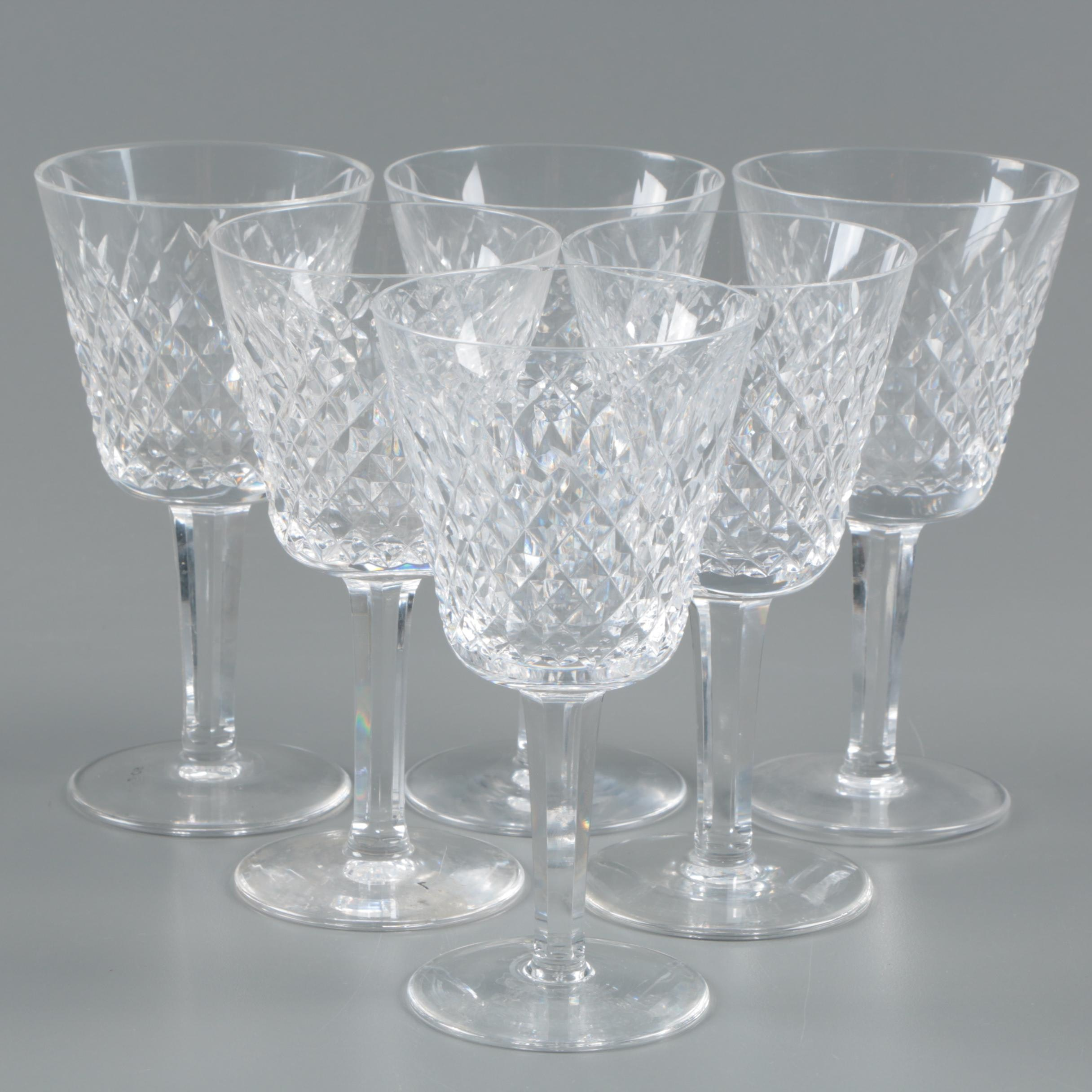 """Waterford Crystal """"Alana"""" Claret Wine Glasses"""