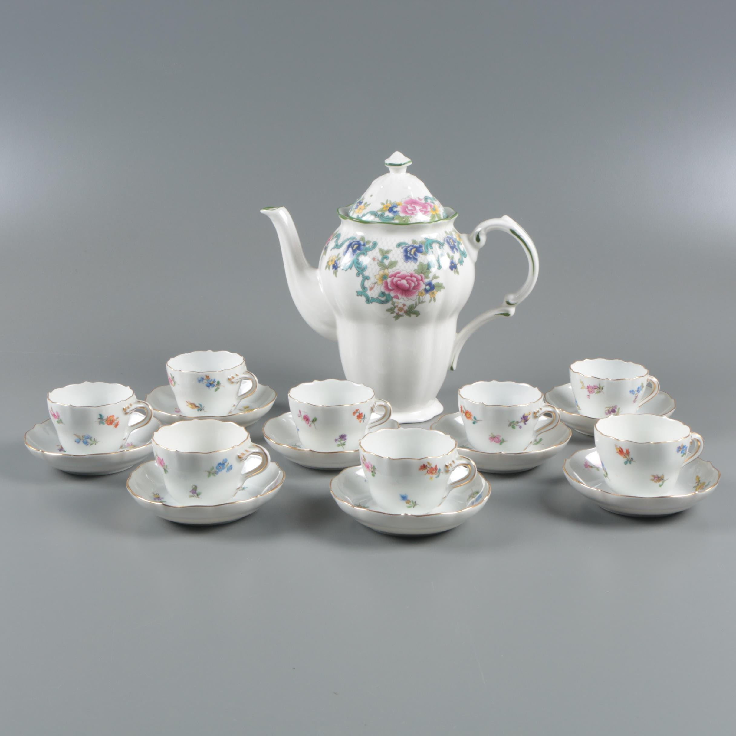 """Meissen """"Scattered Flowers"""" Porcelain Cups and Saucers Royal Doulton Coffee Pot"""