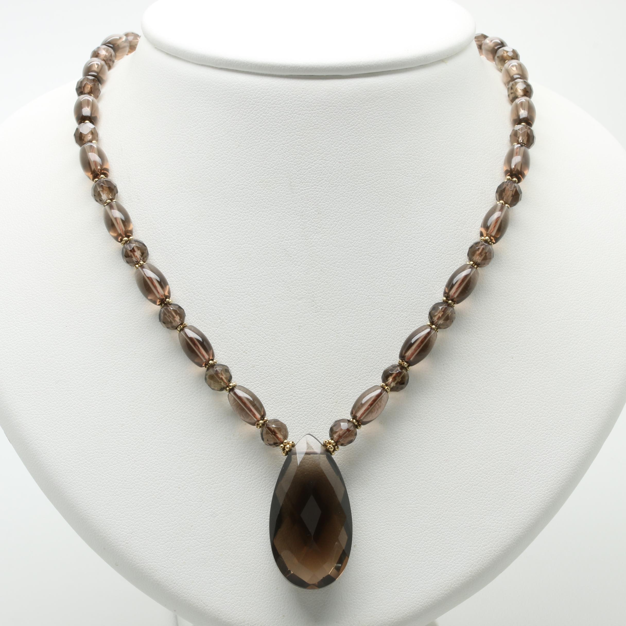 Smoky Quartz Beaded Necklace with 14K Yellow Gold Clasp