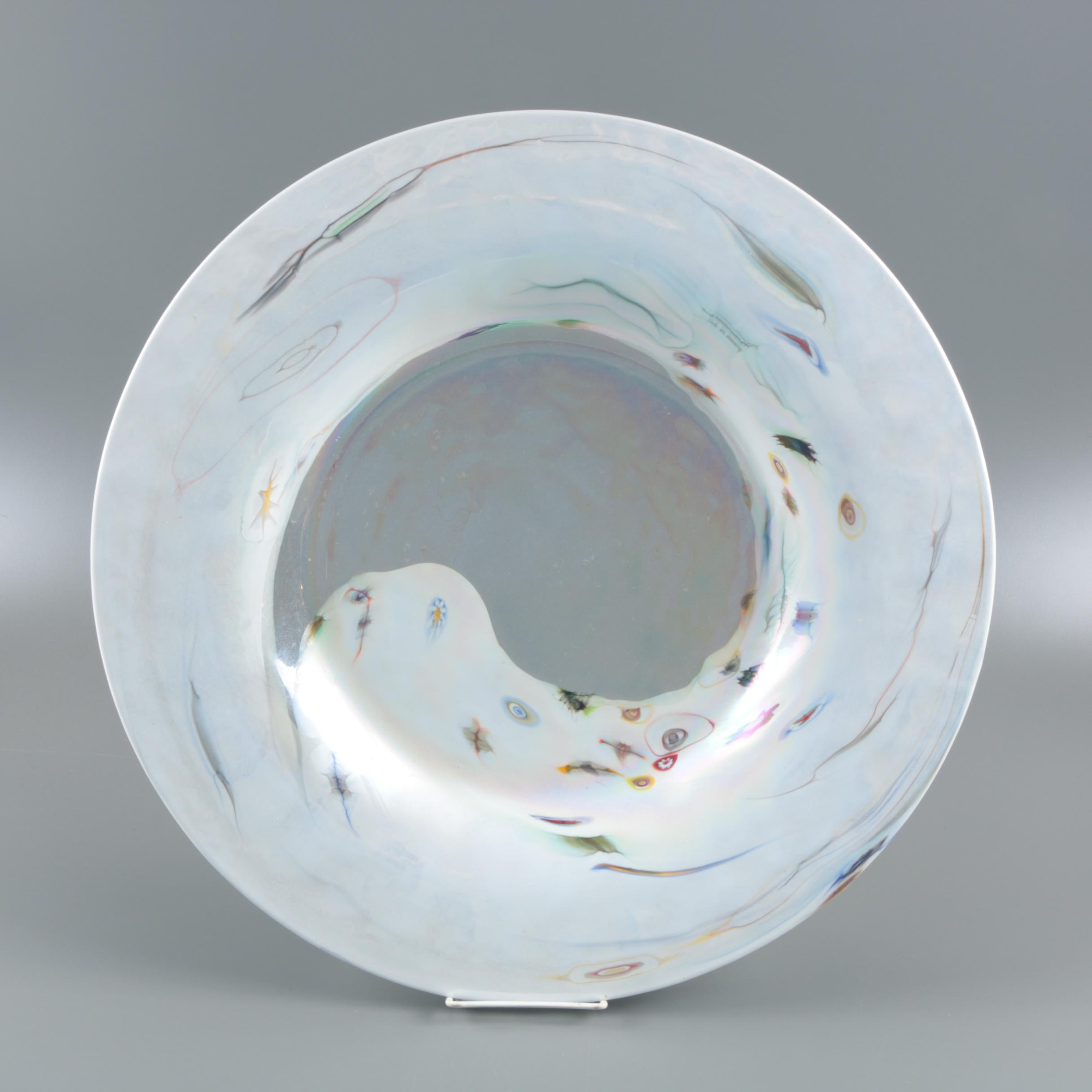 Iridescent White to Clear Blown Glass Centerpiece Bowl