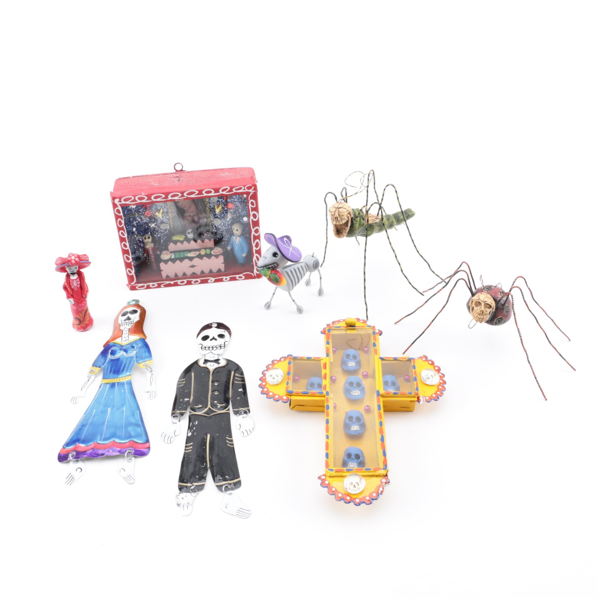 El Día de los Muertos Figurines and Signed Juan Jose Garcia Aguilar Sculptures