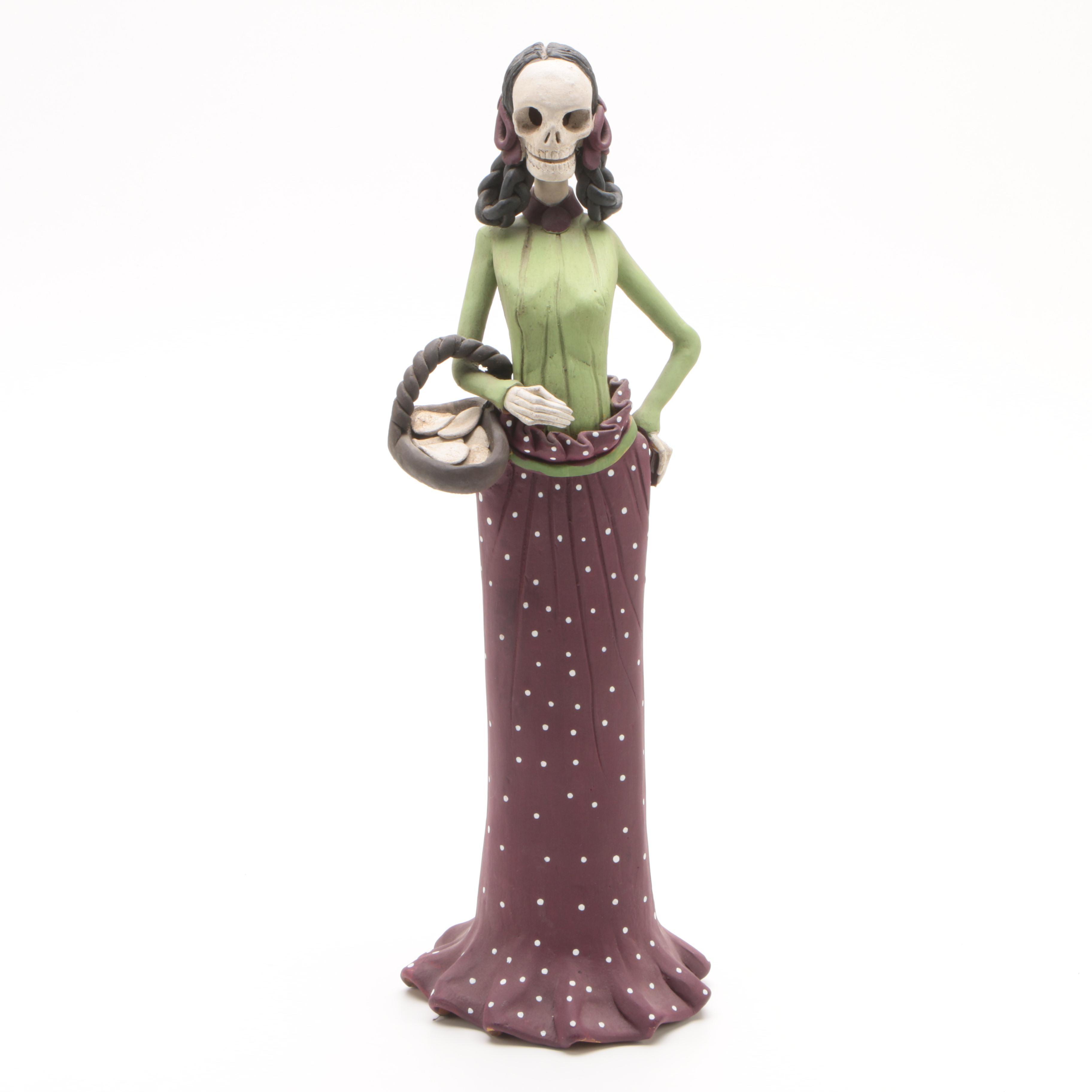 Mexican Día de Muertos Hand-Painted Terracotta Figurine