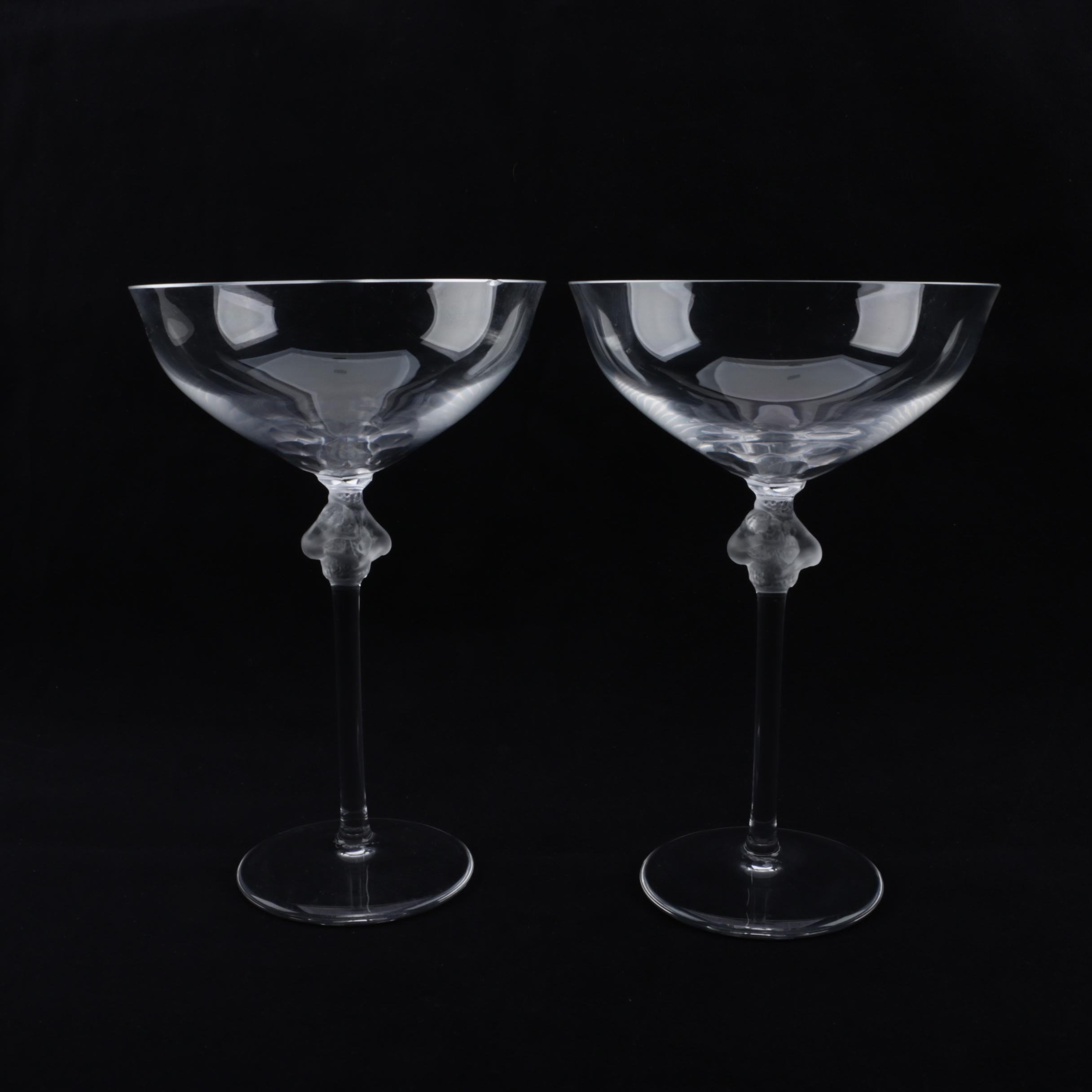 """Lalique """"Roxane"""" Crystal Champagne Coupe Glasses"""