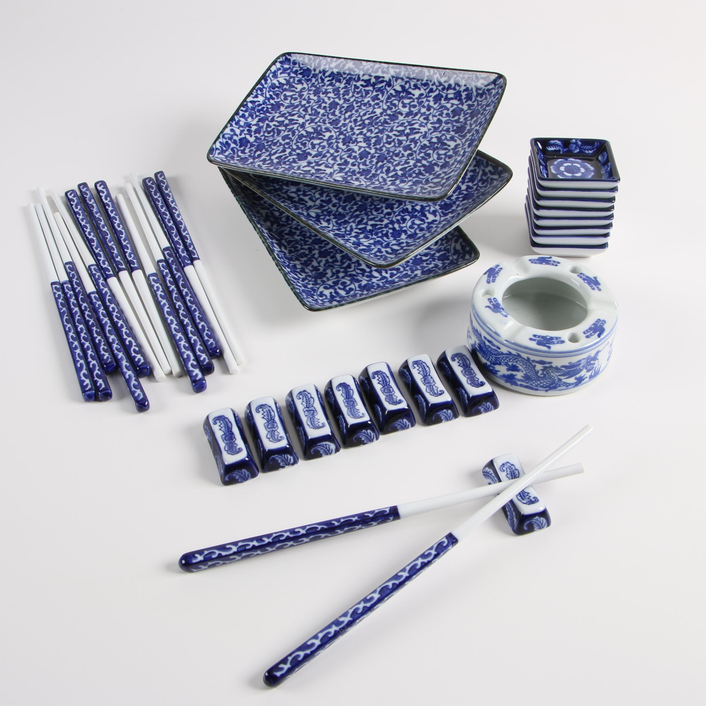 Japanese Blue and White Porcelain Tableware including Sousaku