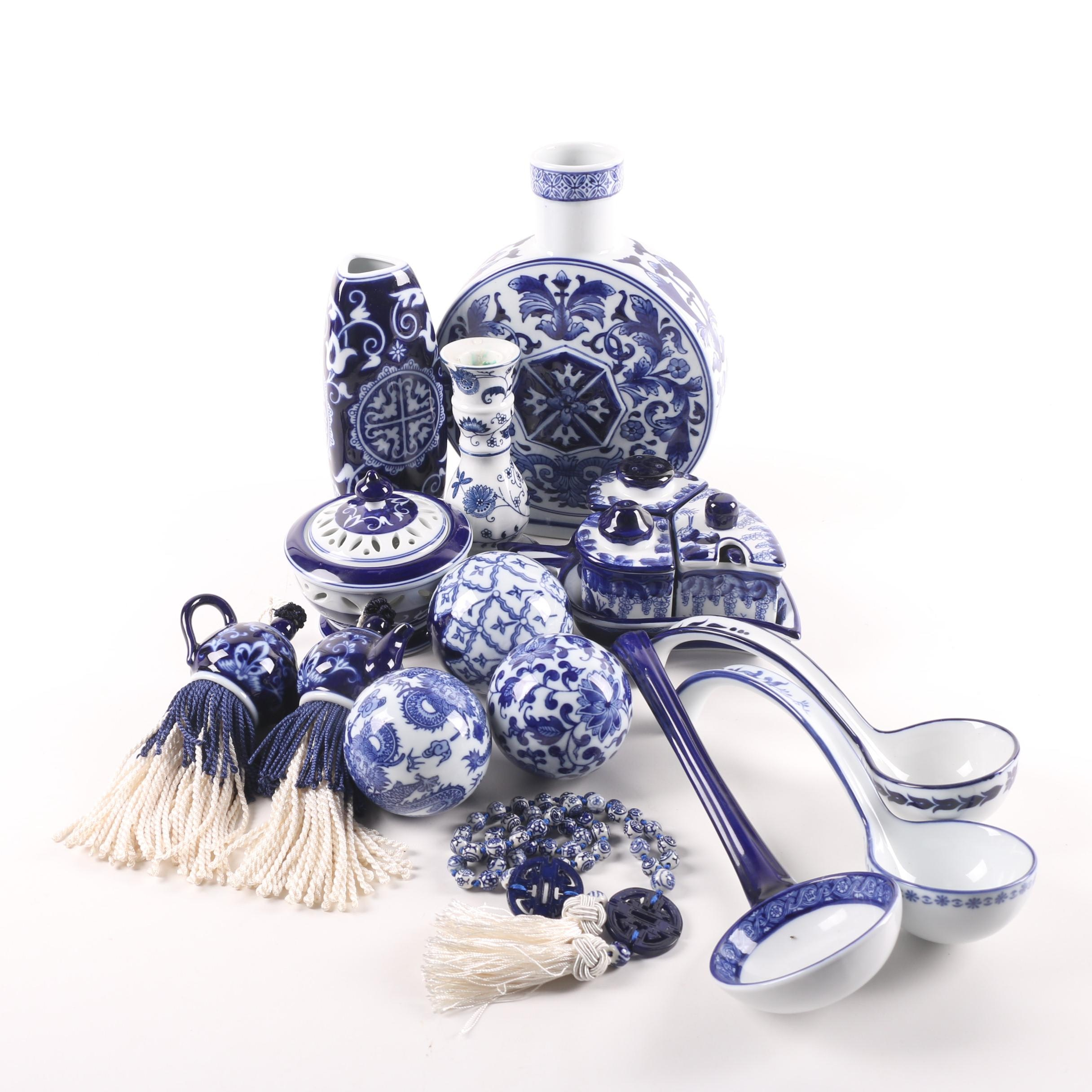 Bombay Chinese Porcelain Serveware and Vase with Decorative Tassels