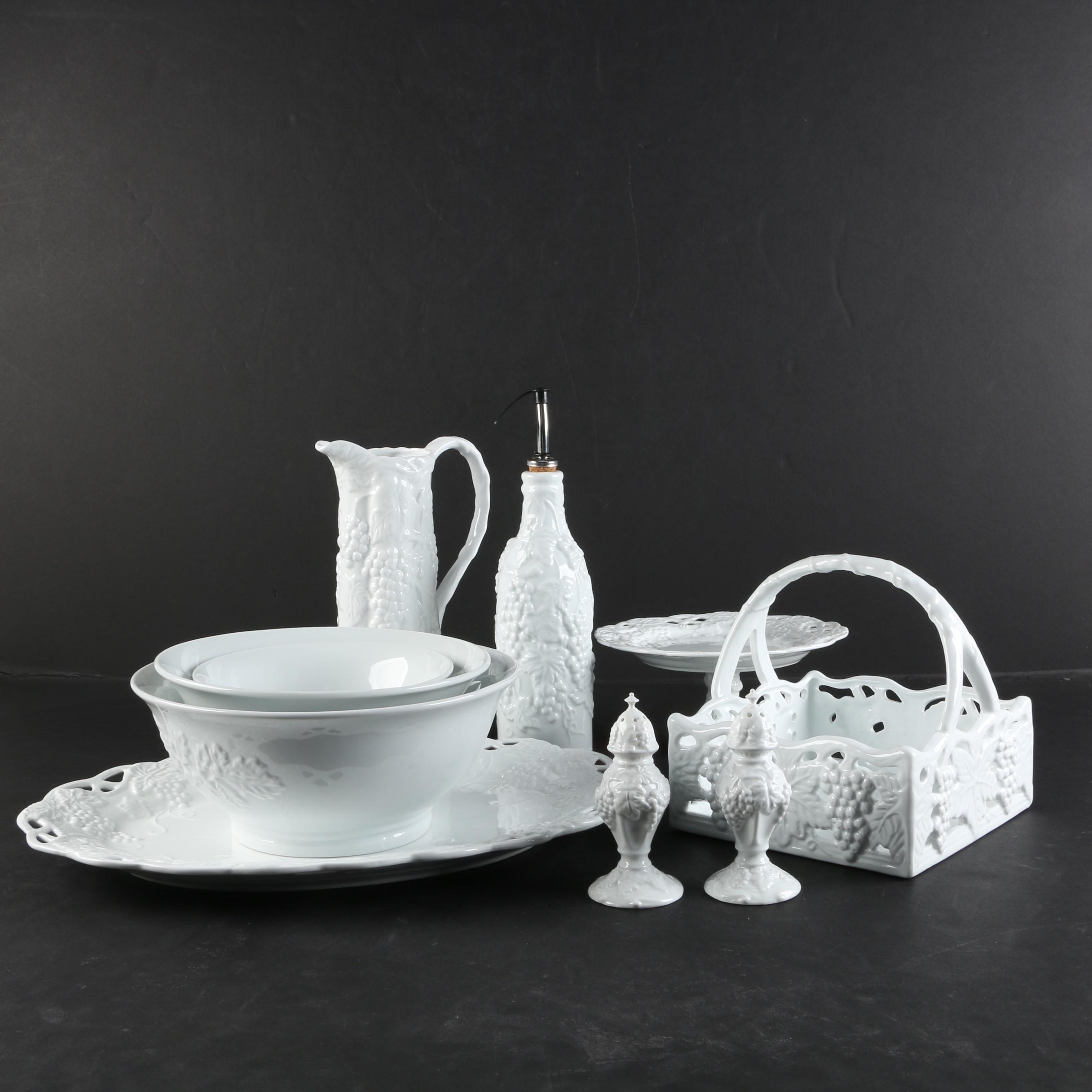 Contemporary Porcelain Serveware with Grape Motif
