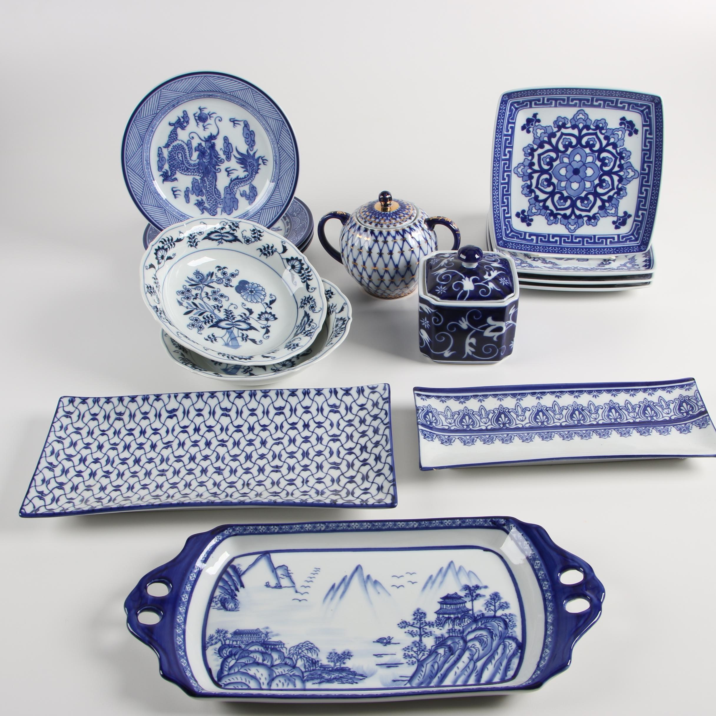 Lomonosov Porcelain Sucrier with Blue Danube and Bombay Tableware
