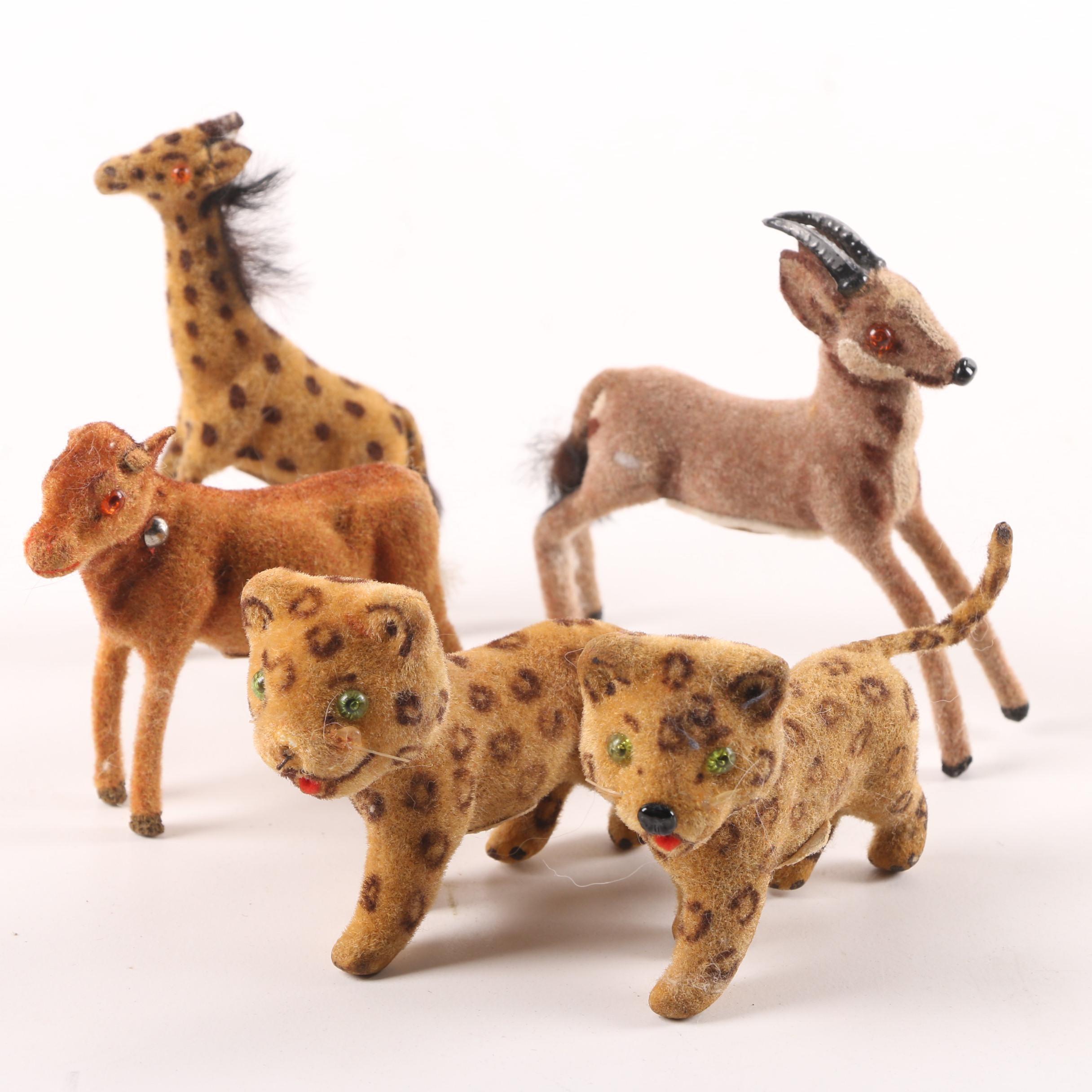 1950s Wagner Kunstlerschutz for Max Carl Flocked Toy Animals