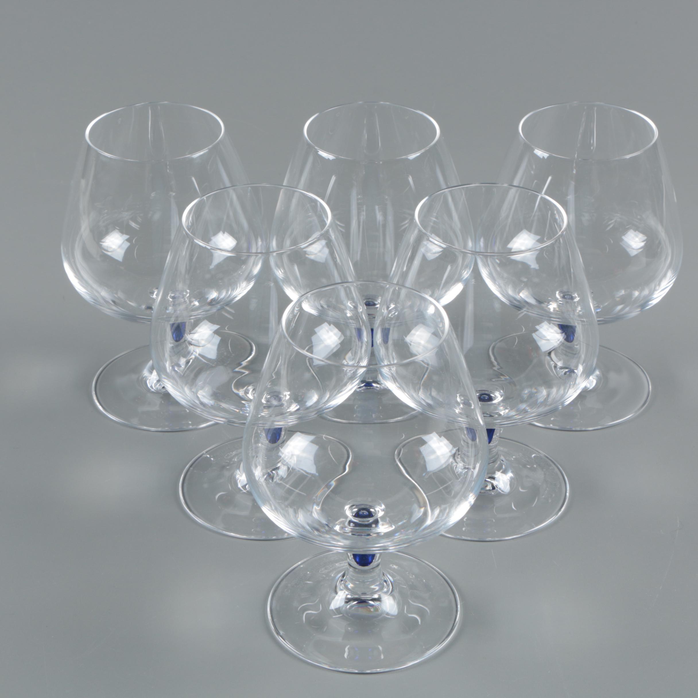 Courvoisier Cognac Snifter Glasses with Cobalt Bubble Accents
