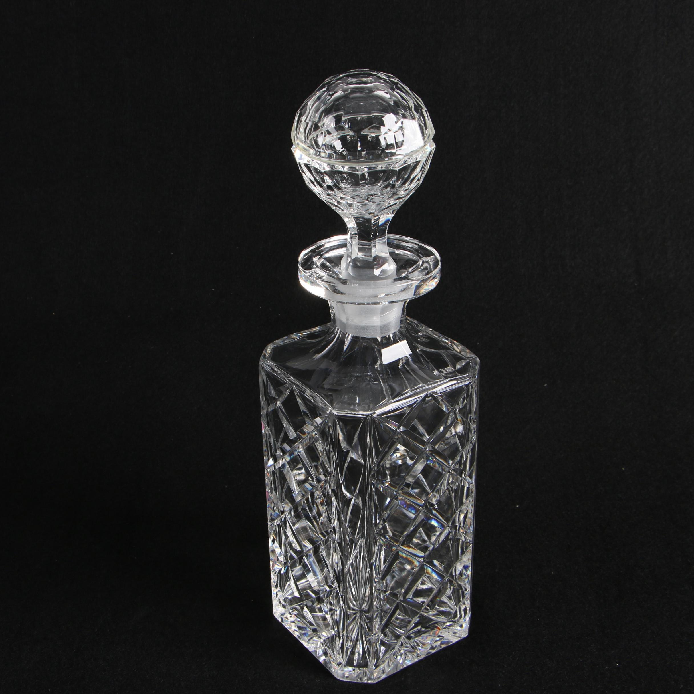 Cut Crystal Decanter with Relief Diamond Pattern