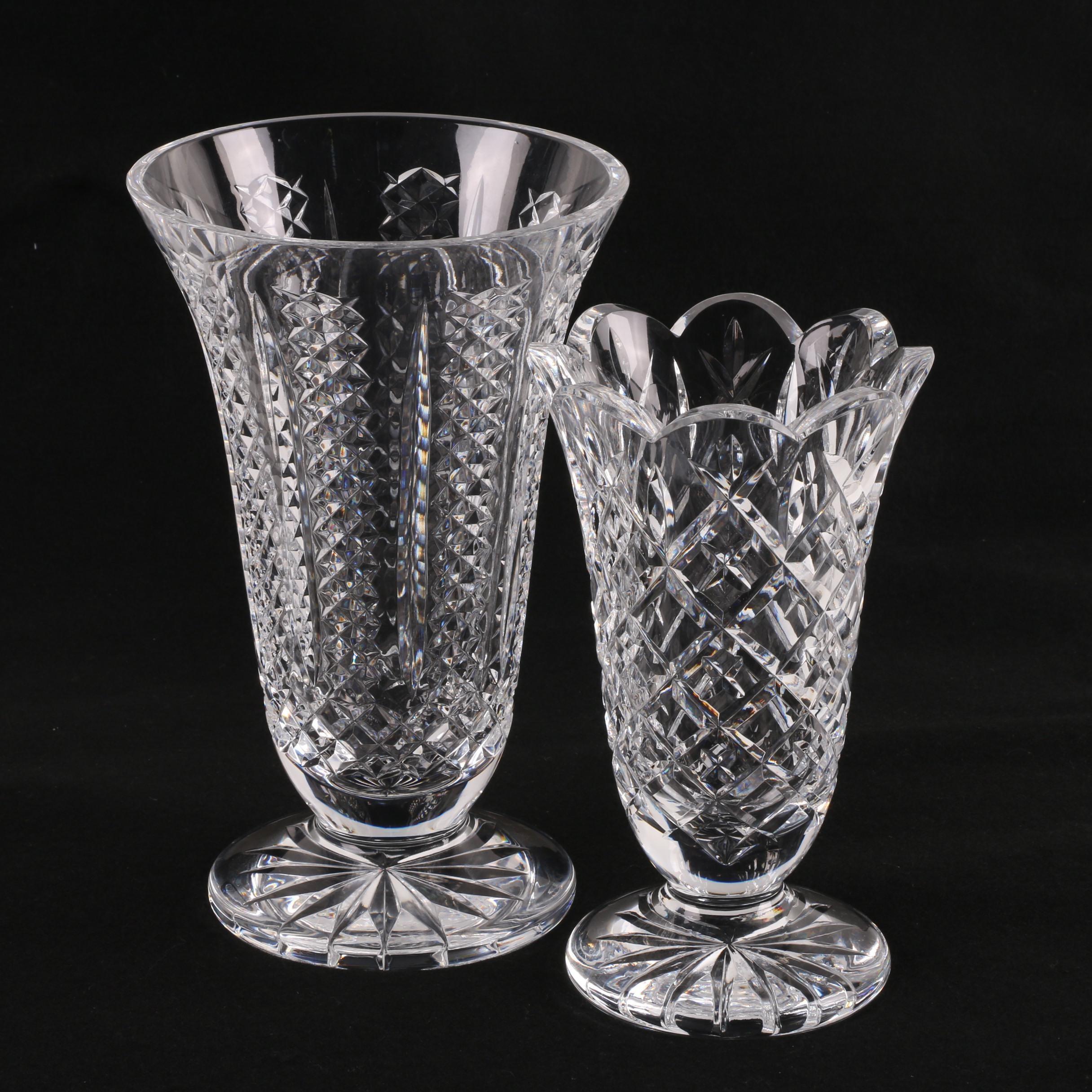 Waterford Crystal Footed Flower Vases