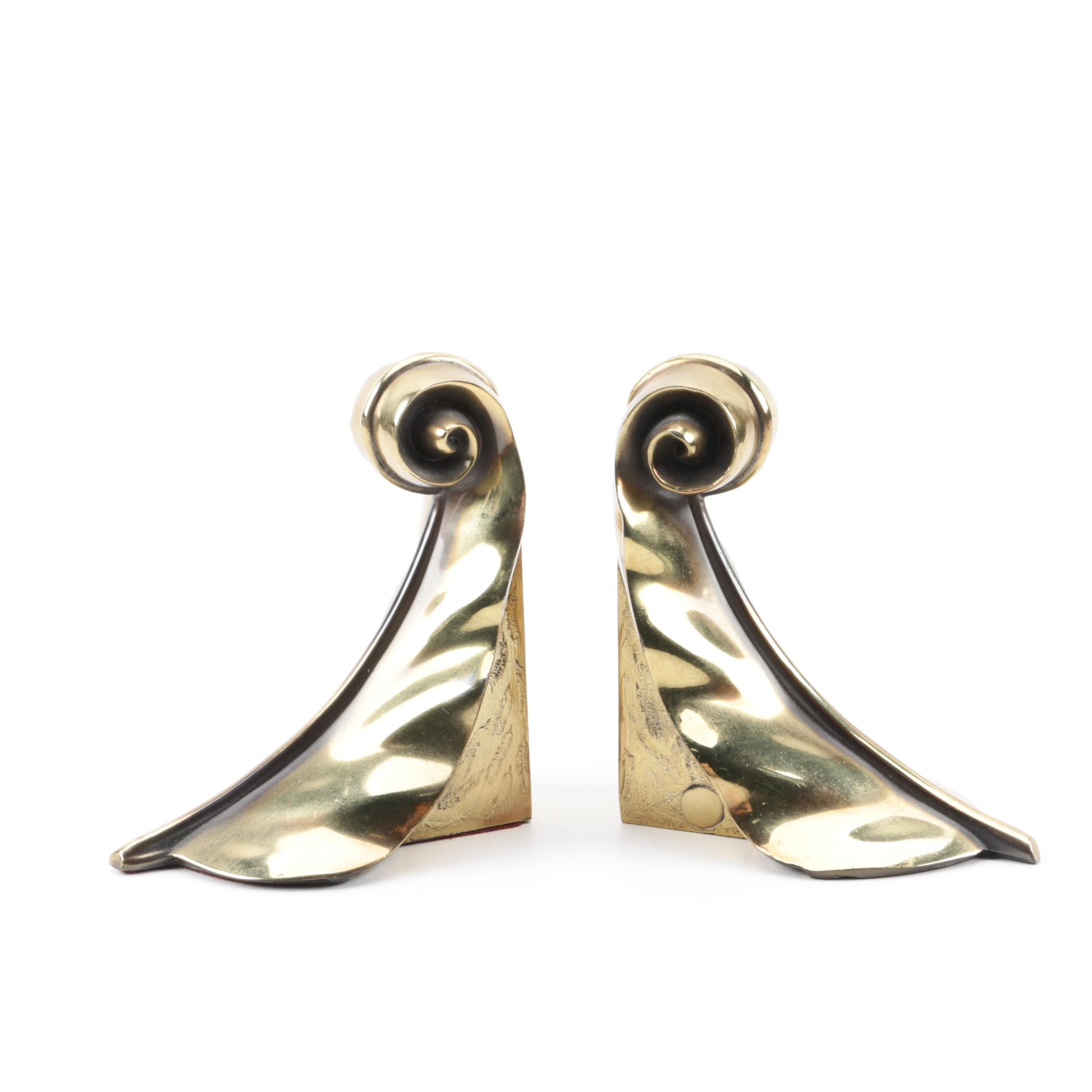 Brass Feather Bookends