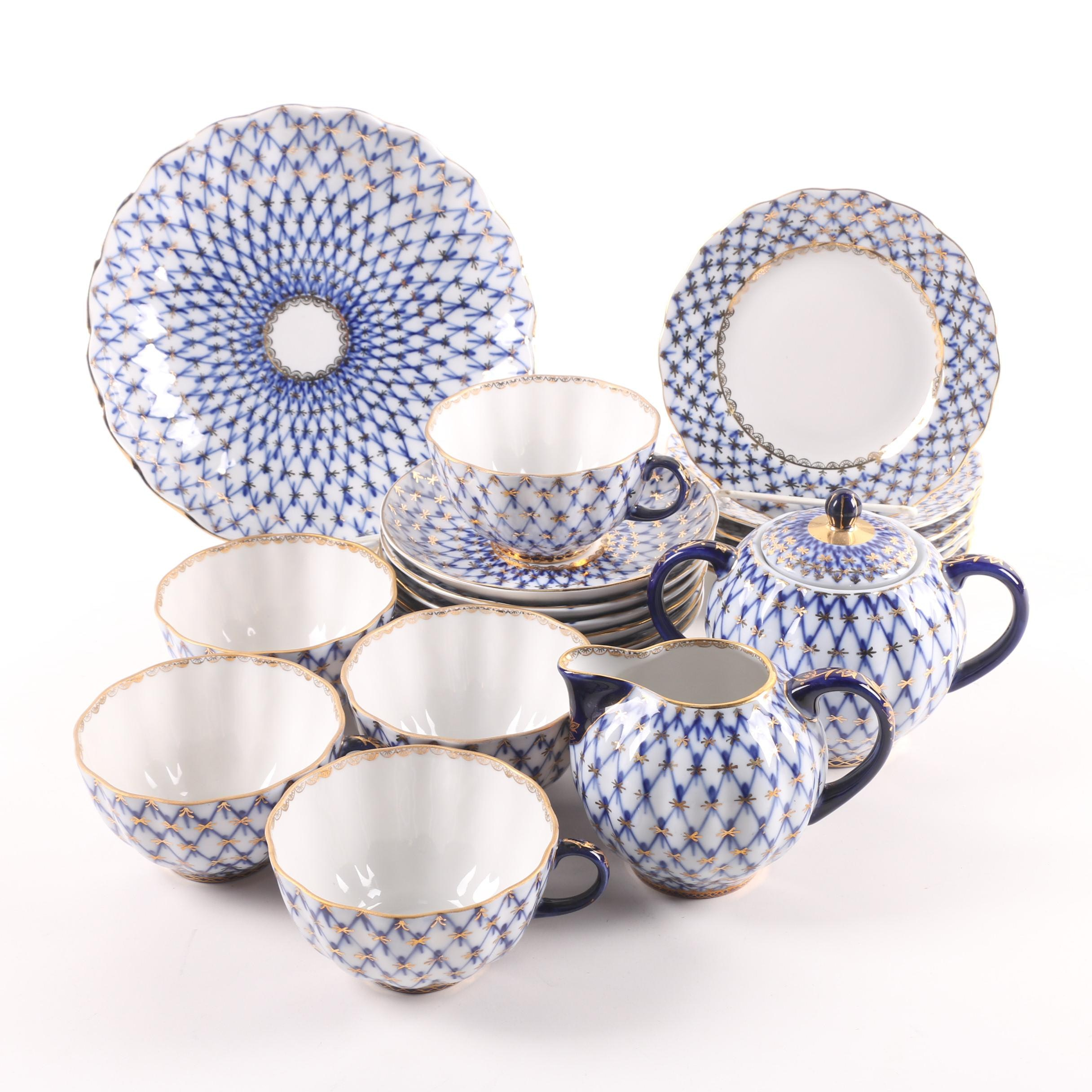 """Vintage Lomonosov """"Cobalt Net"""" Porcelain Tea Service"""