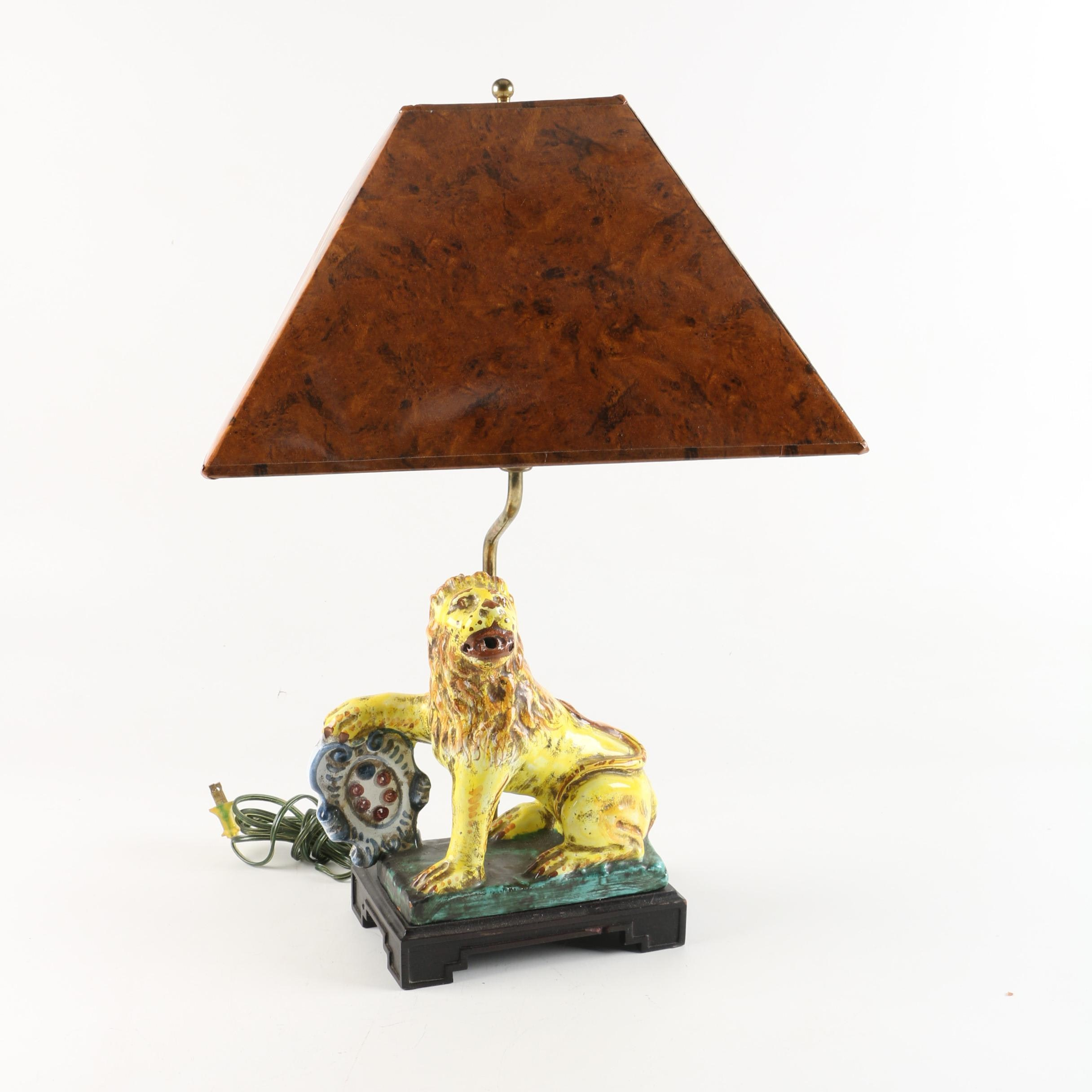 Vintage Ceramic Lion Figural Table Lamp with Tortoiseshell Print Shade