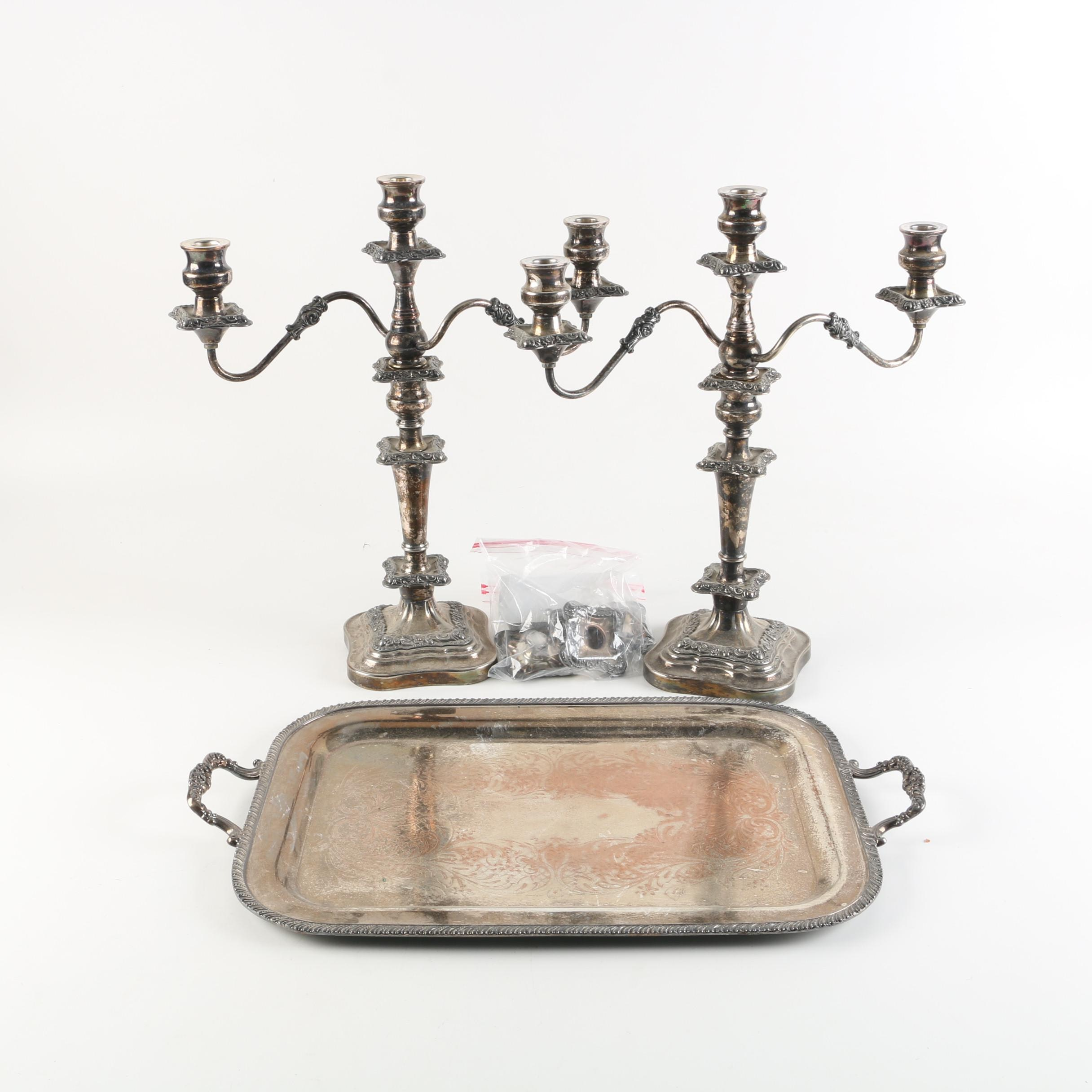 F.B. Rogers Silver Plate Tray with National Silver Co. Sheffield Candelabras
