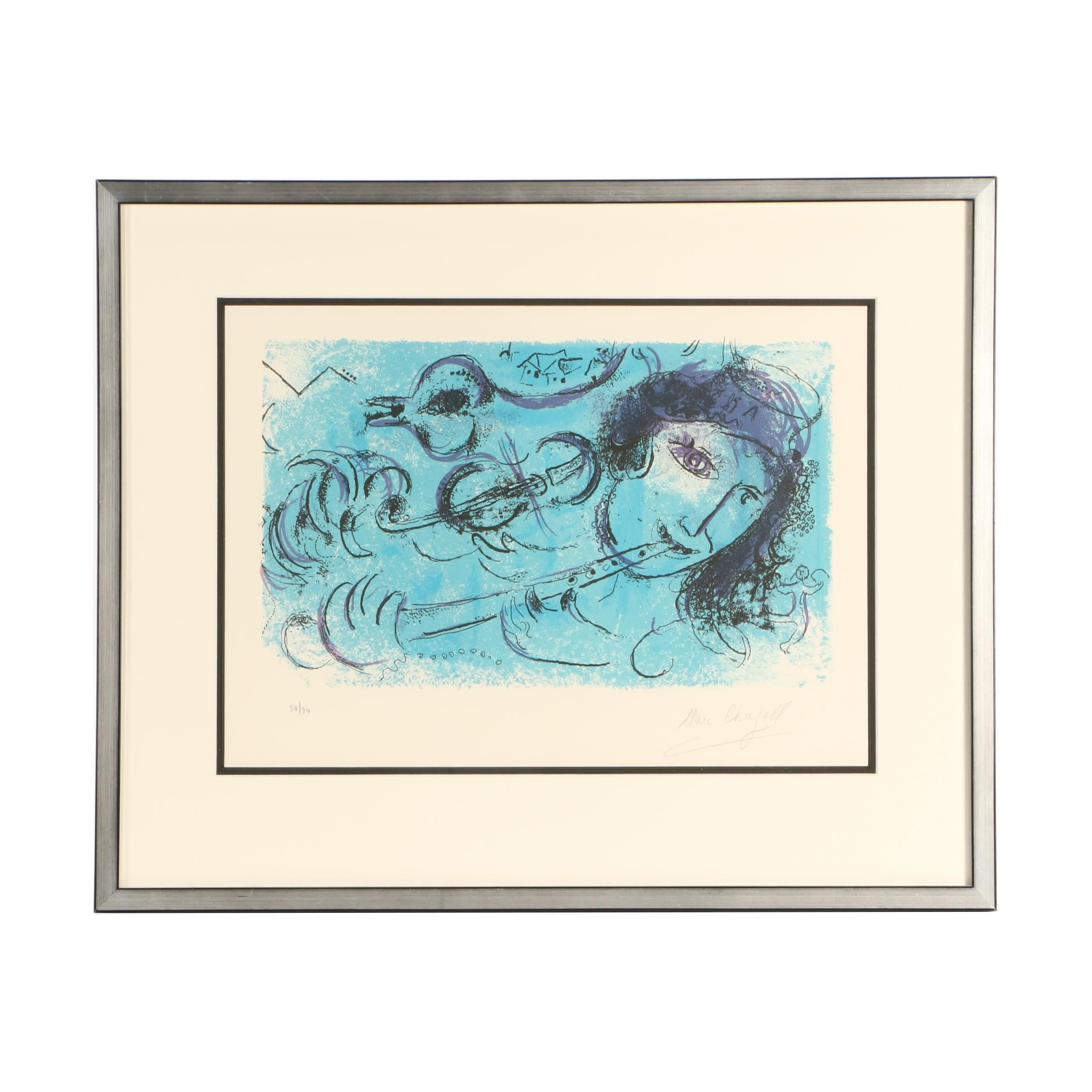 """Marc Chagall 1957 Limited Edition Lithograph """"The Flute Player"""""""