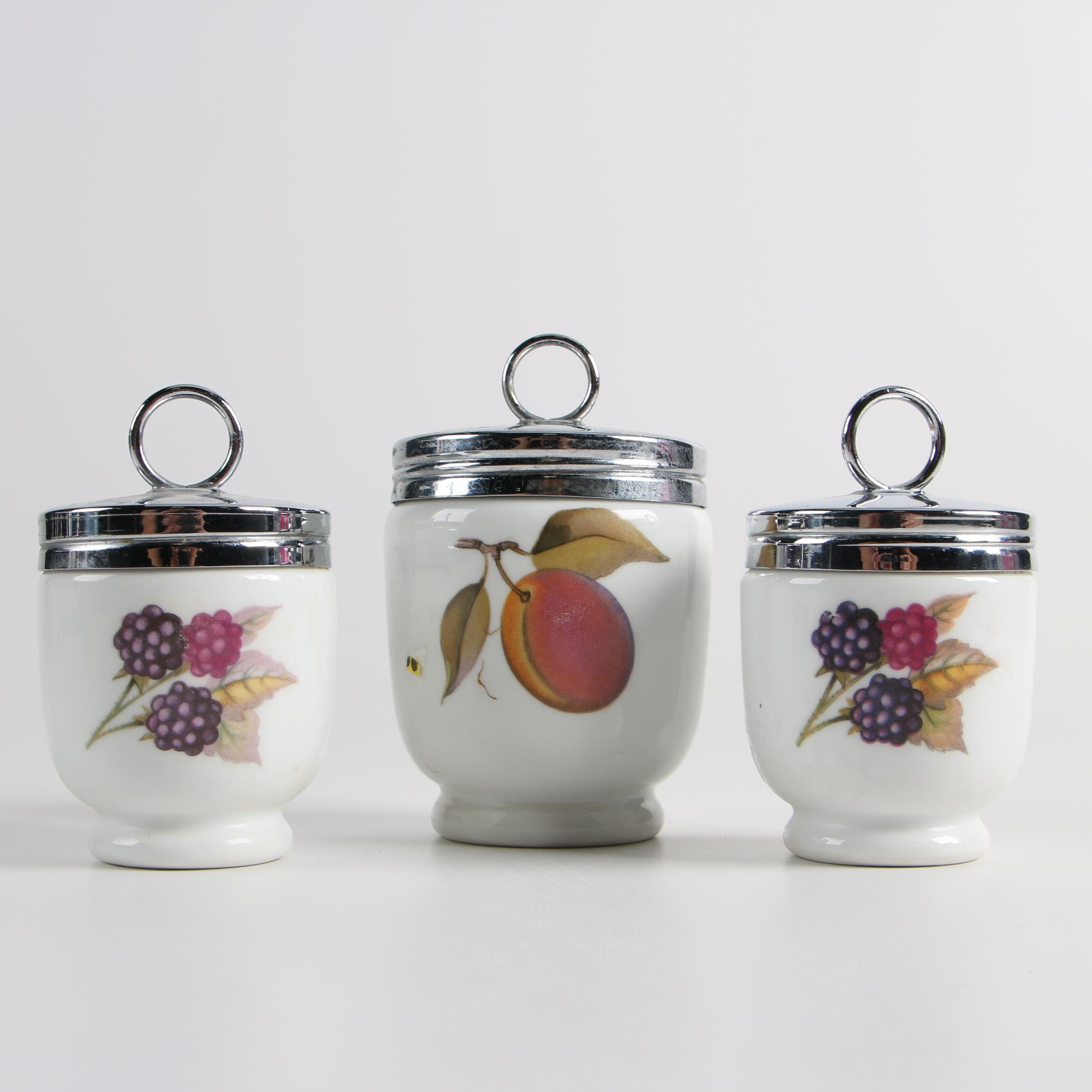 "Royal Worcester ""Evesham Gold"" Porcelain Egg Coddlers"