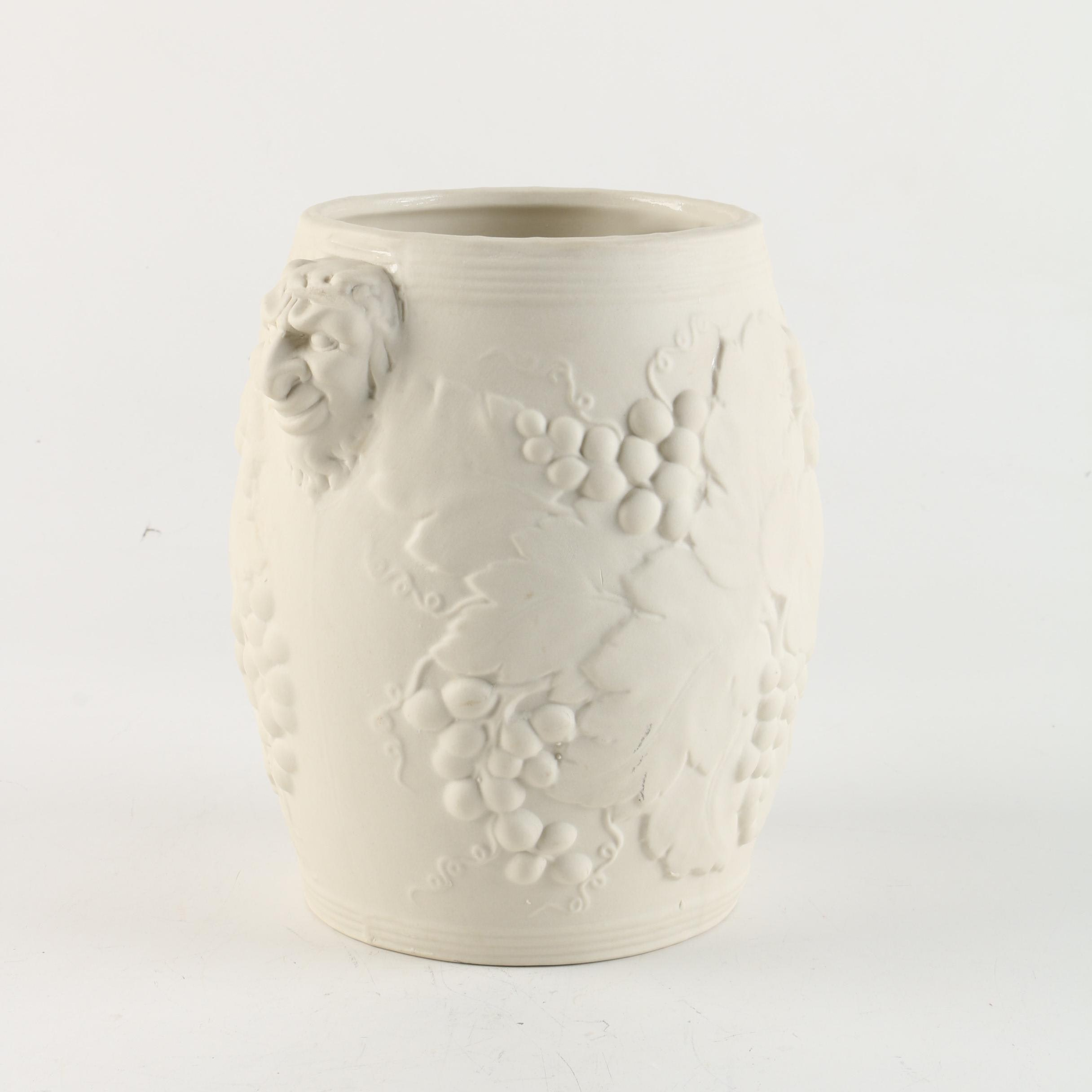 Hartstone Pottery Wine Chiller with Grape and Bacchus Motifs