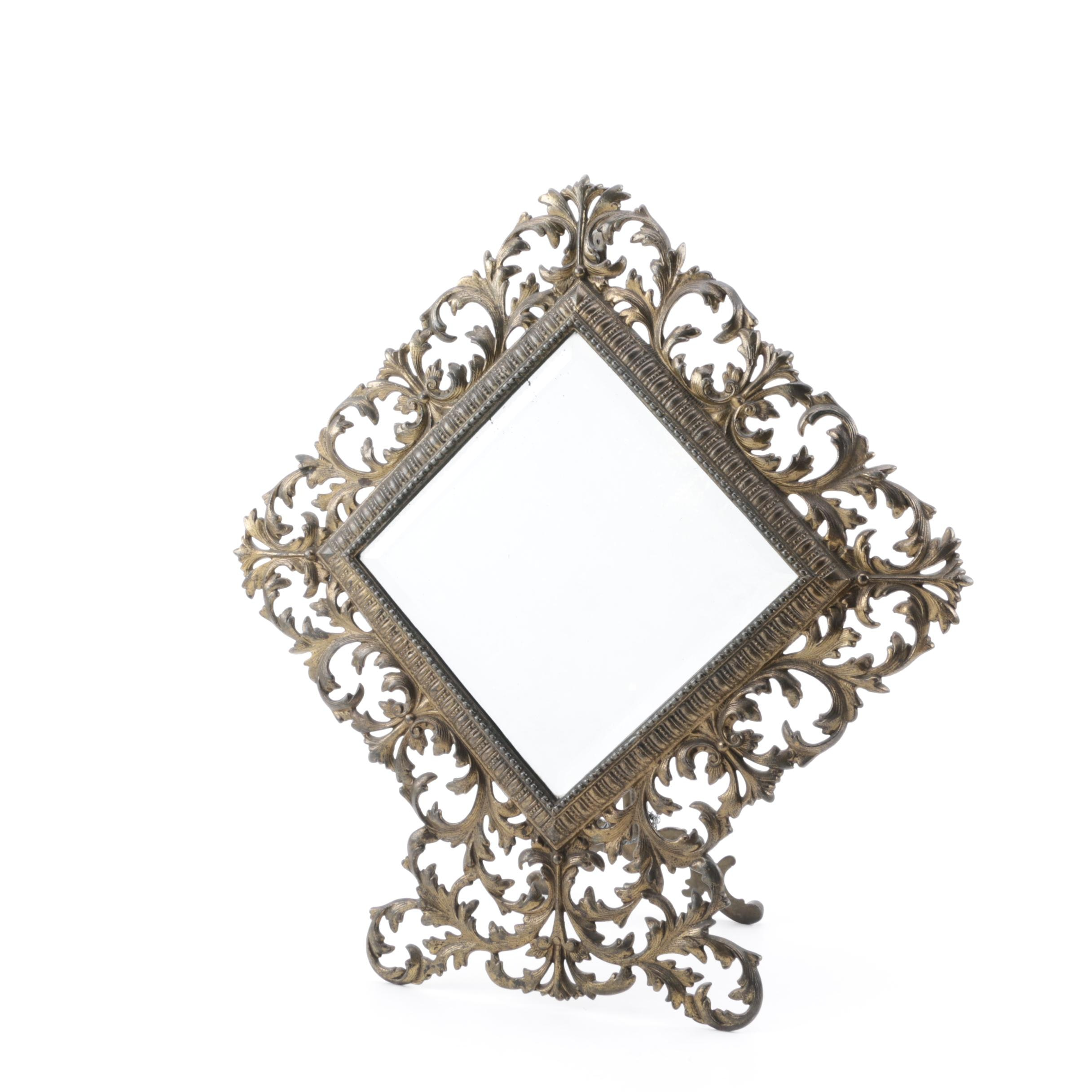 Vintage Metal Filigree Table Mirror