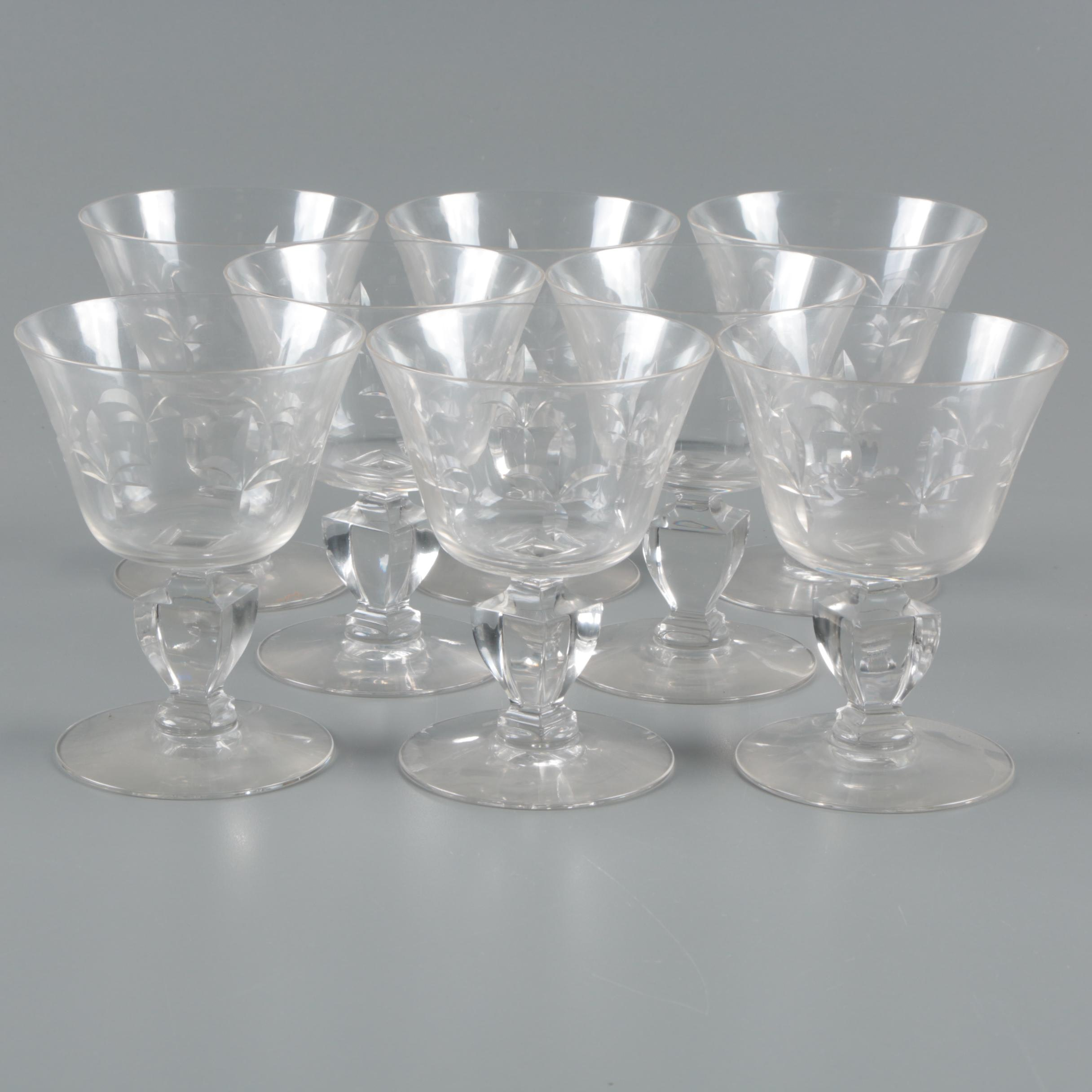 Vintage Etched Glass Wine Glasses