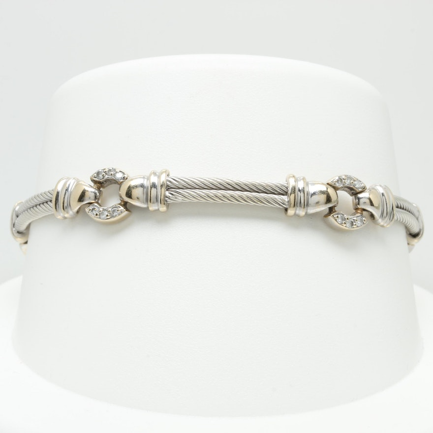 Philippe Charriol 18k White Gold Diamond Fancy Link Bracelet