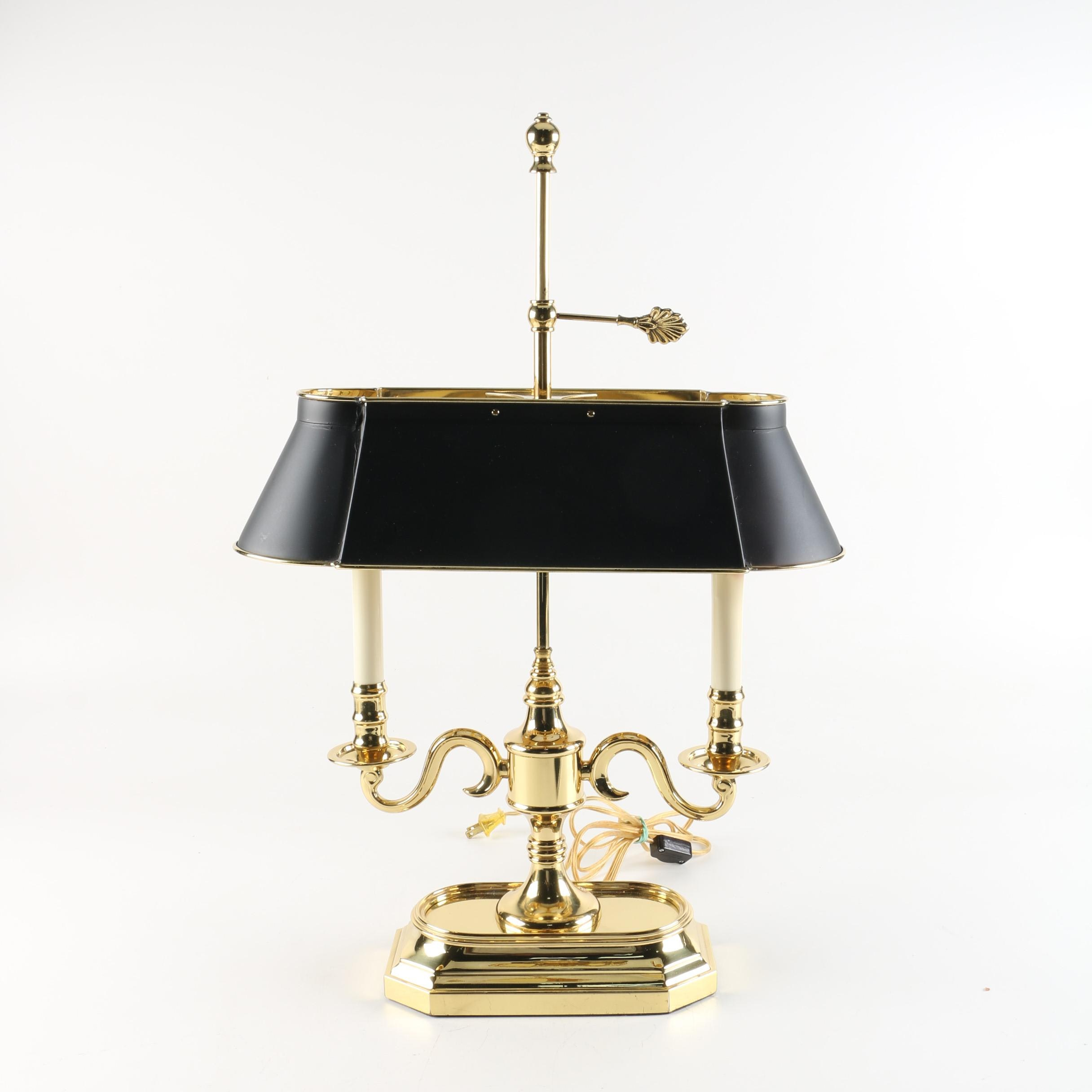 Bouillotte Style Double Light Brass Table Lamp with Metal Shade