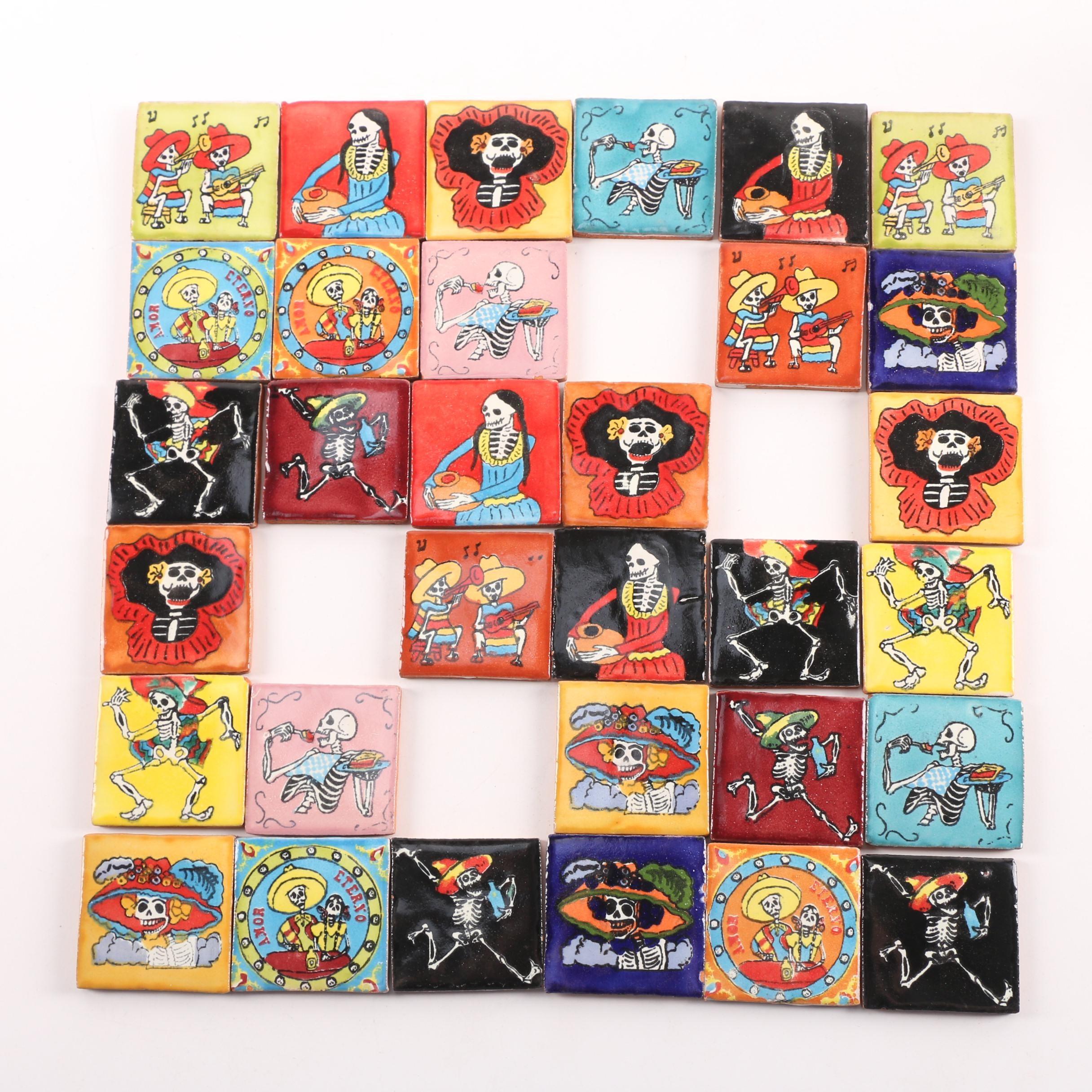 Mexican Day of the Dead Folk Art Style Talavera Tiles