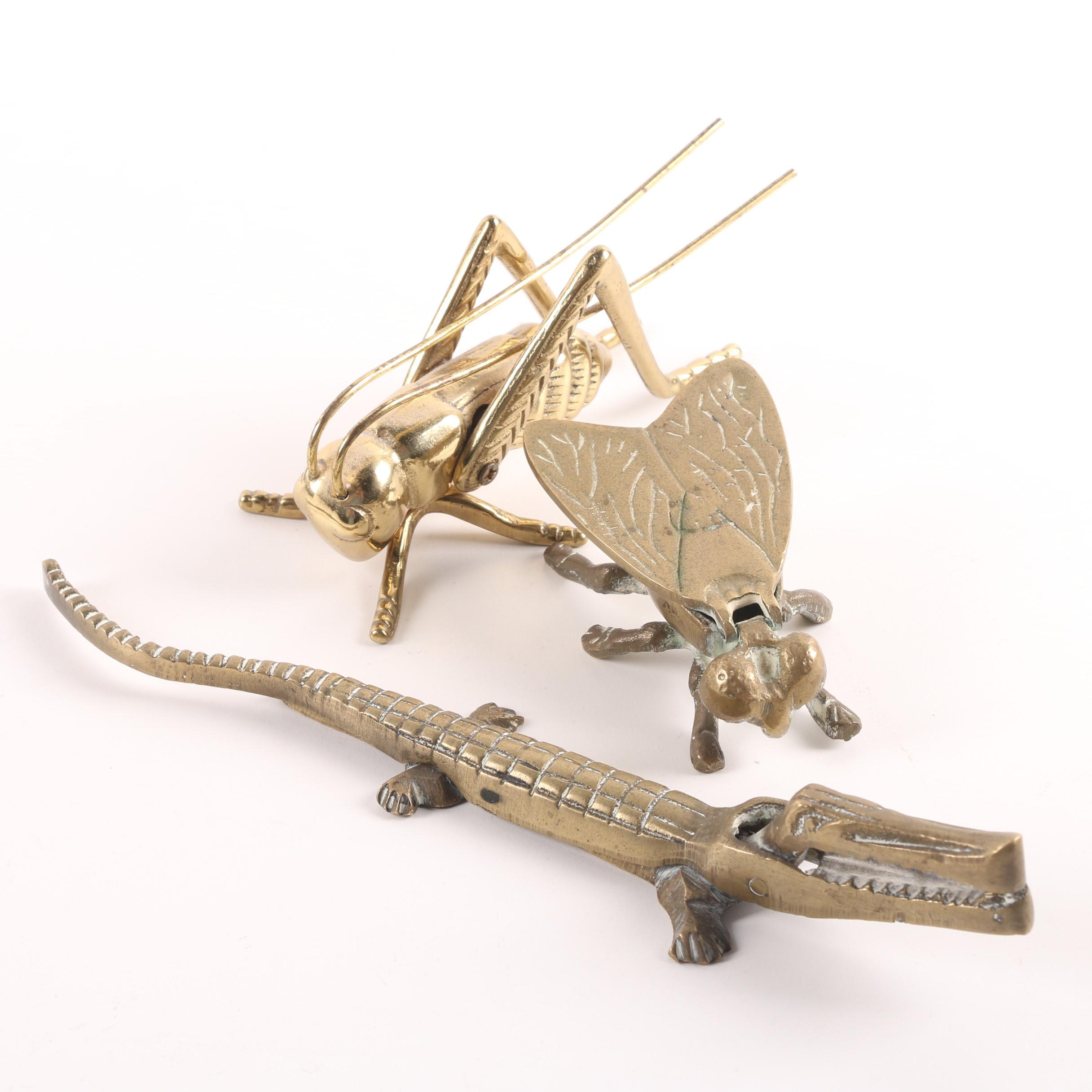 Brass Grasshopper Figurine, Alligator Nutcracker and Fly Ash Receiver