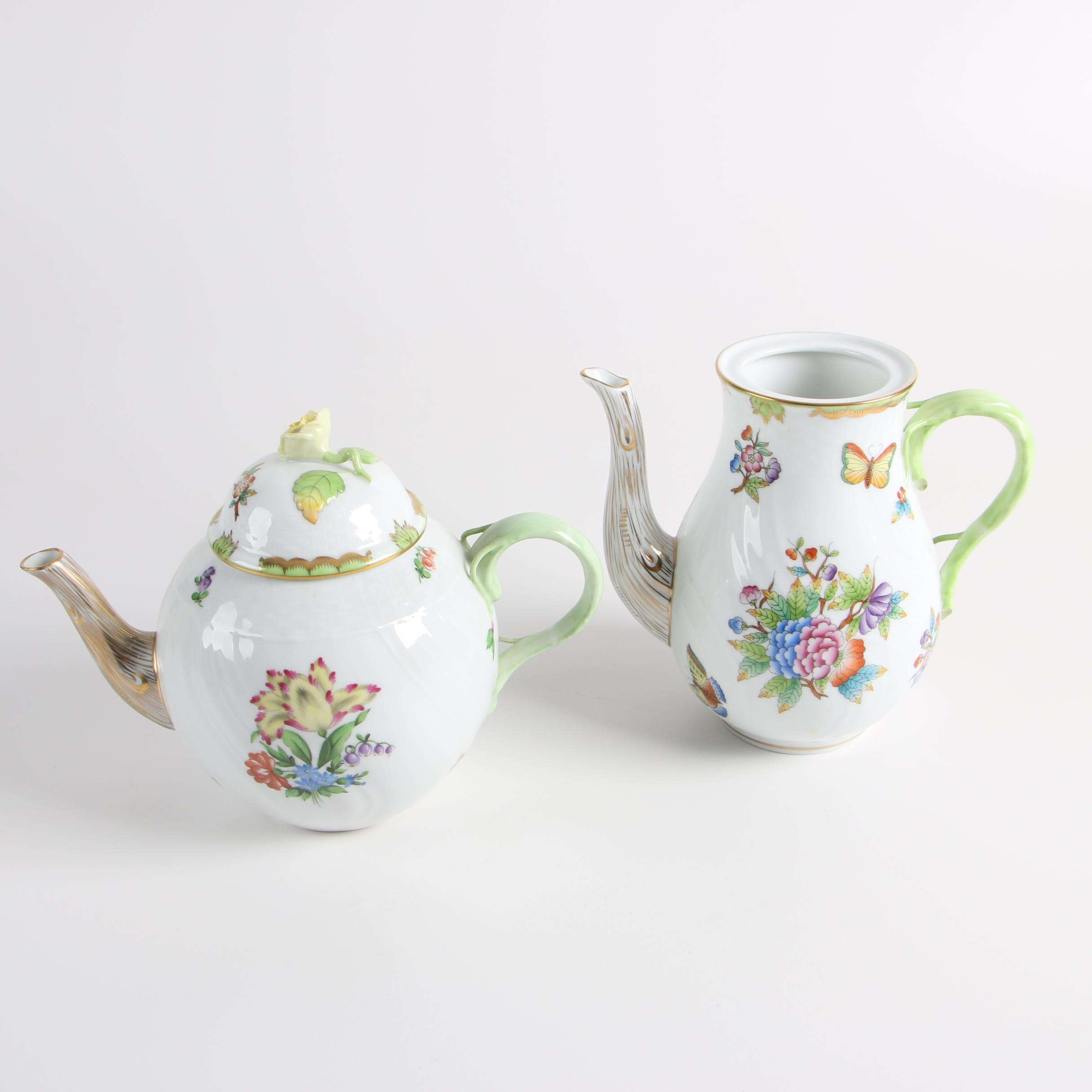 """Herend Hungary """"Printemps"""" Teapot and """"Queen Victoria"""" Porcelain Coffee Pot"""