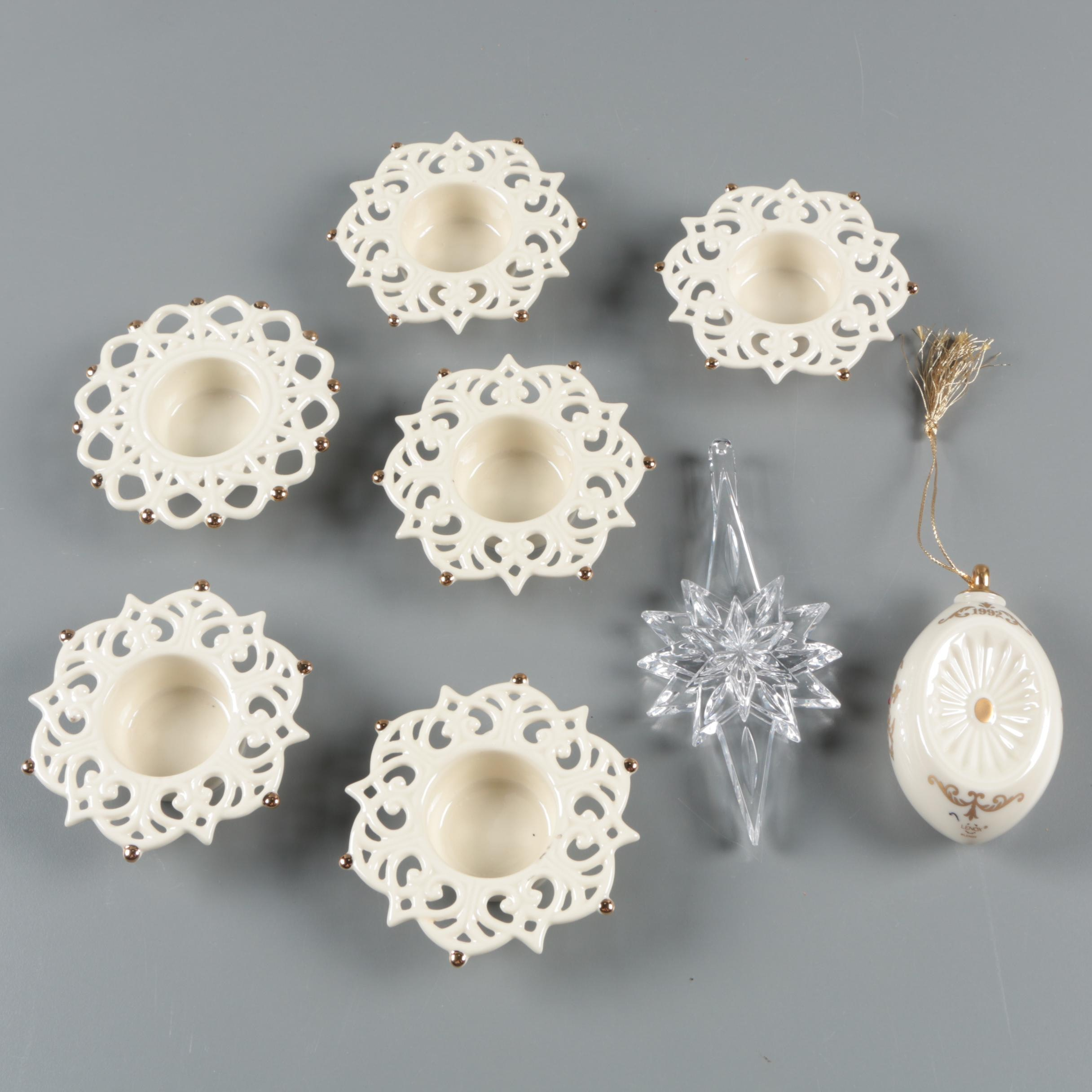 """Lenox """"Snow Lights Sparkle"""" Candleholders and Waterford Crystal Ornament"""