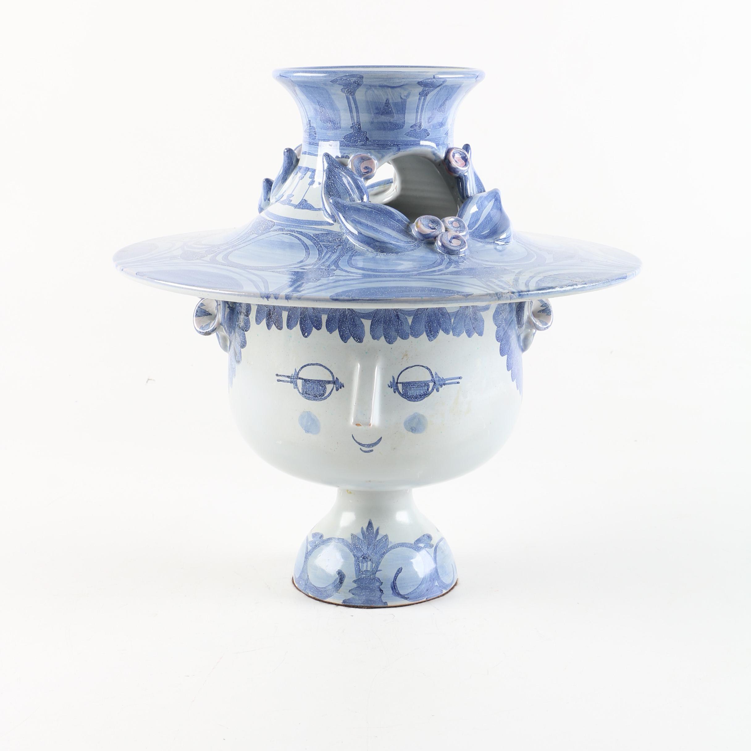 Bjørn Wiinblad Danish Figural Art Pottery Vase, Circa 1970s