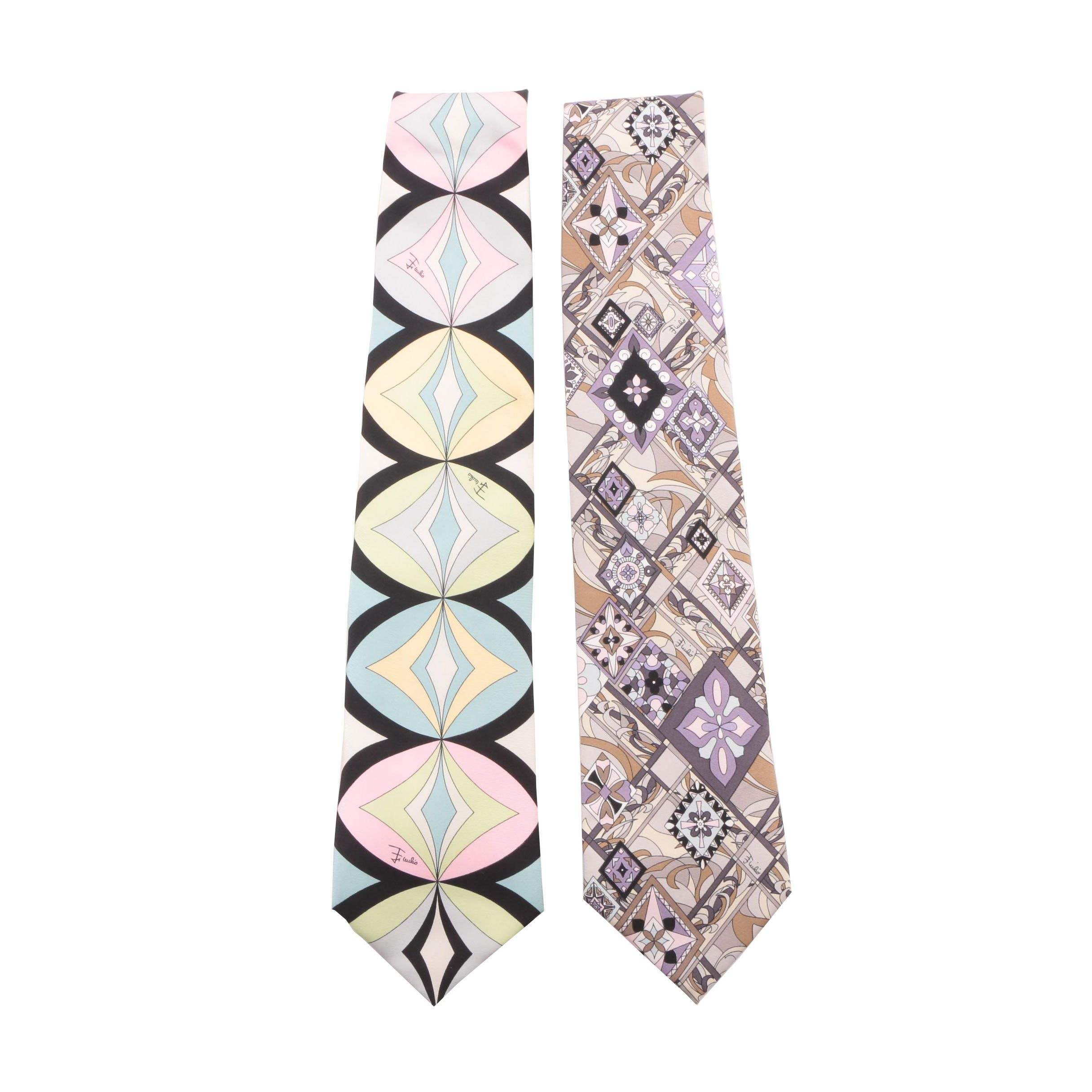 Emilio Pucci Multicolored Geometric and Abstract Print Silk Neckties