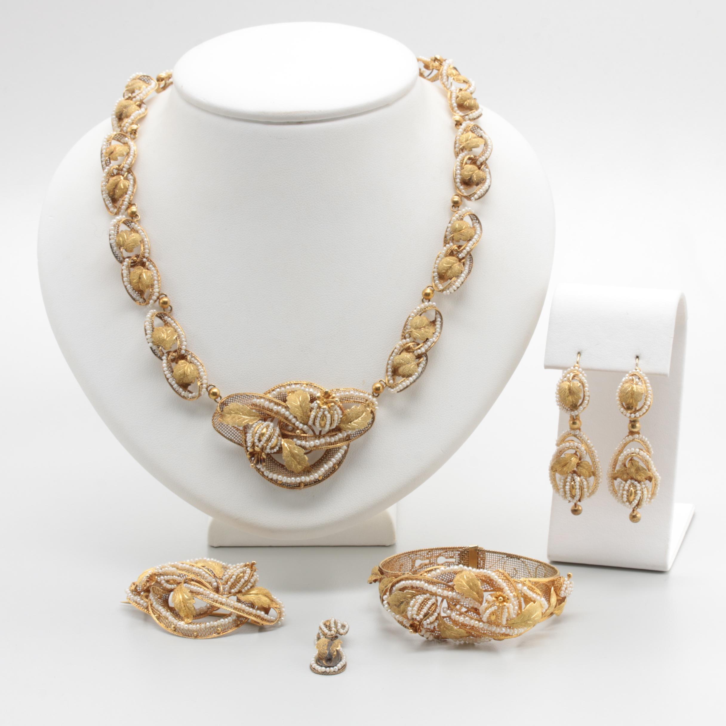 Georgian 14K Yellow Gold Seed Pearl Full Parure Jewelry Suite