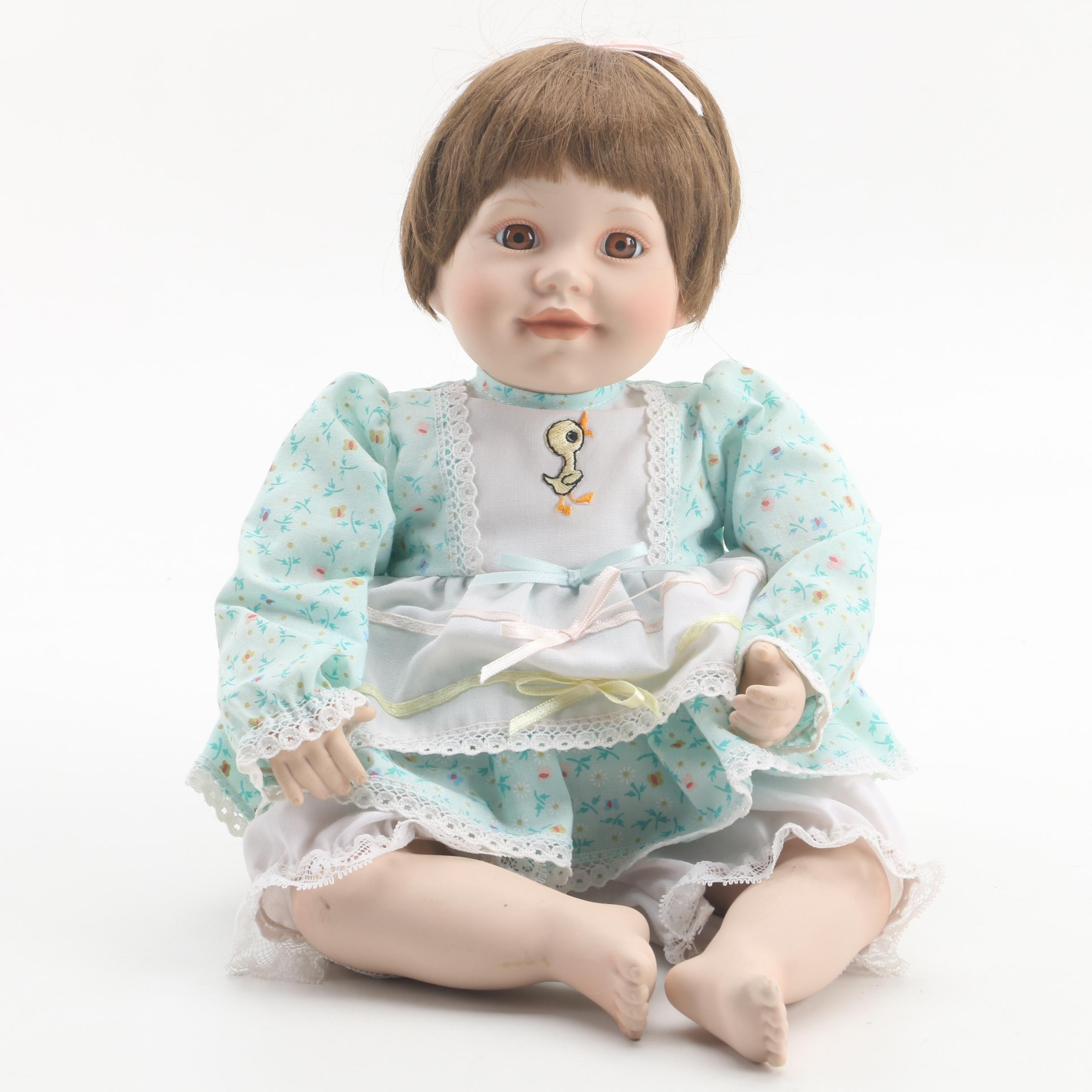 "1990 The Danbury Mint ""Julie"" Porcelain Doll by Judy Belle"